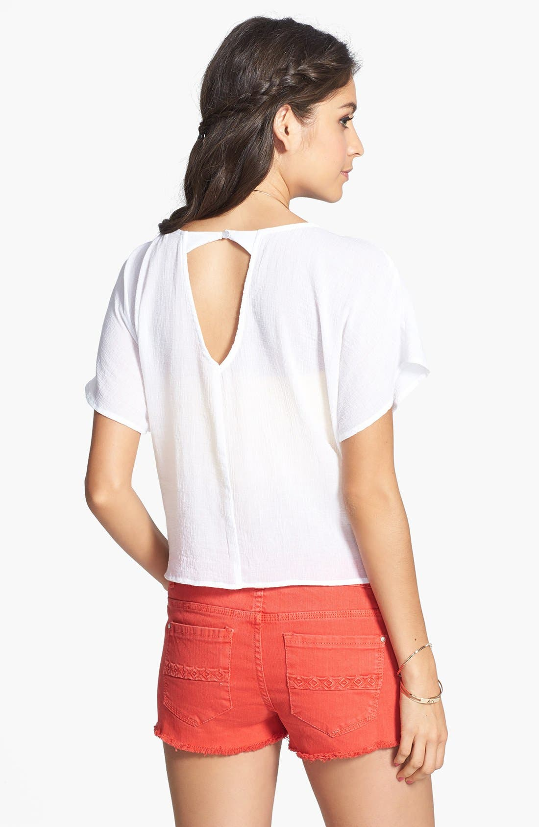 Alternate Image 2  - Love on a Hanger Embroidered Eyelet Tee (Juniors)