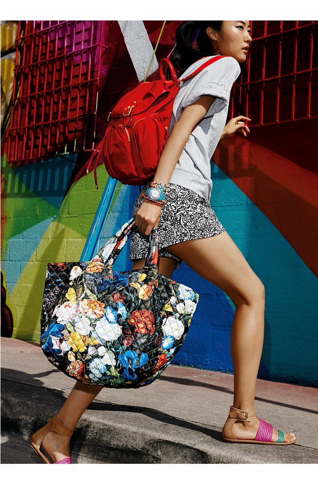 Alternate Image 5  - MZ Wallace 'Medium Floral Oxford - Metro' Quilted Tote (Nordstrom Exclusive)