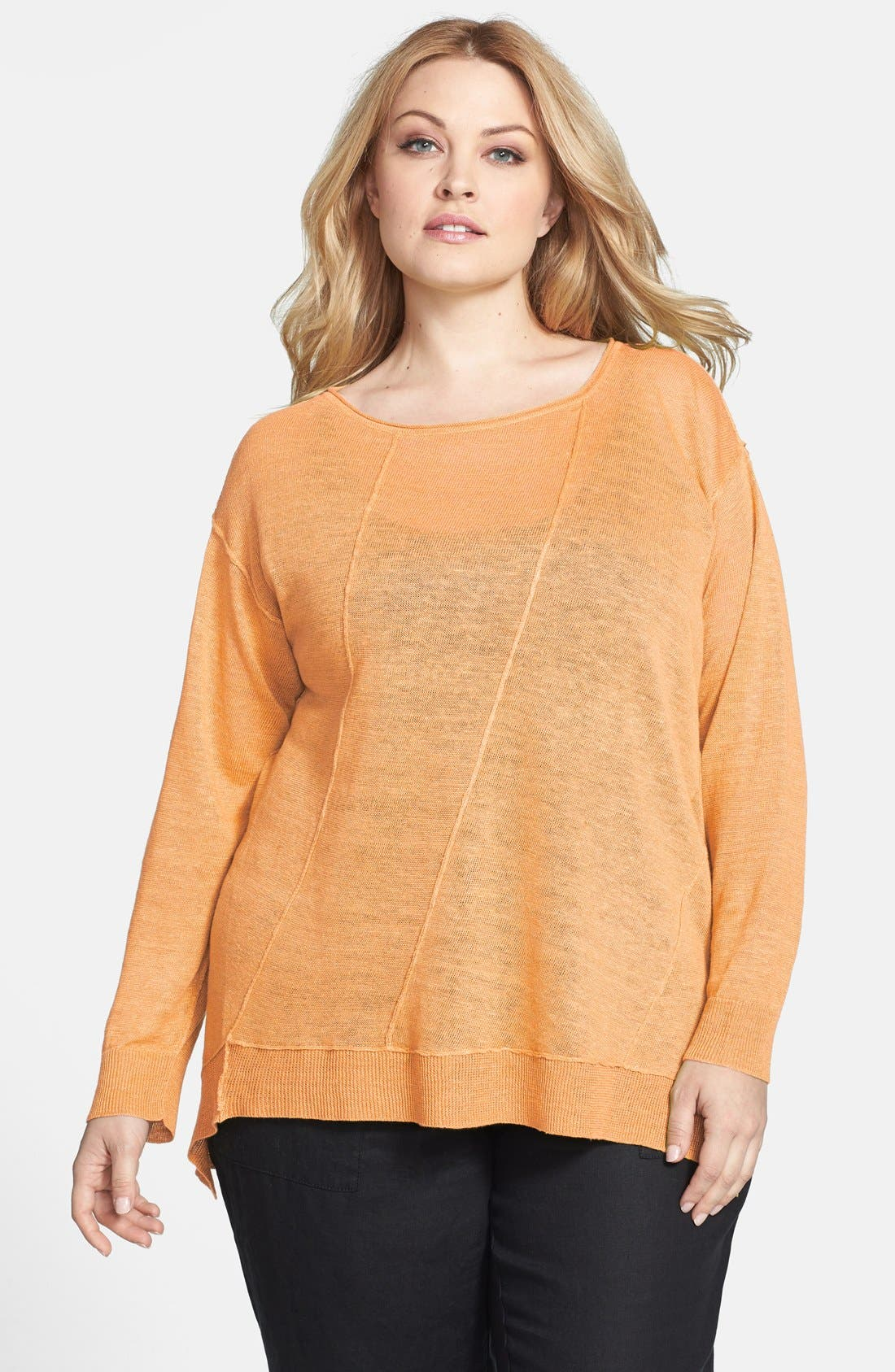 Main Image - Eileen Fisher Organic Linen Boat Neck Top (Plus Size)