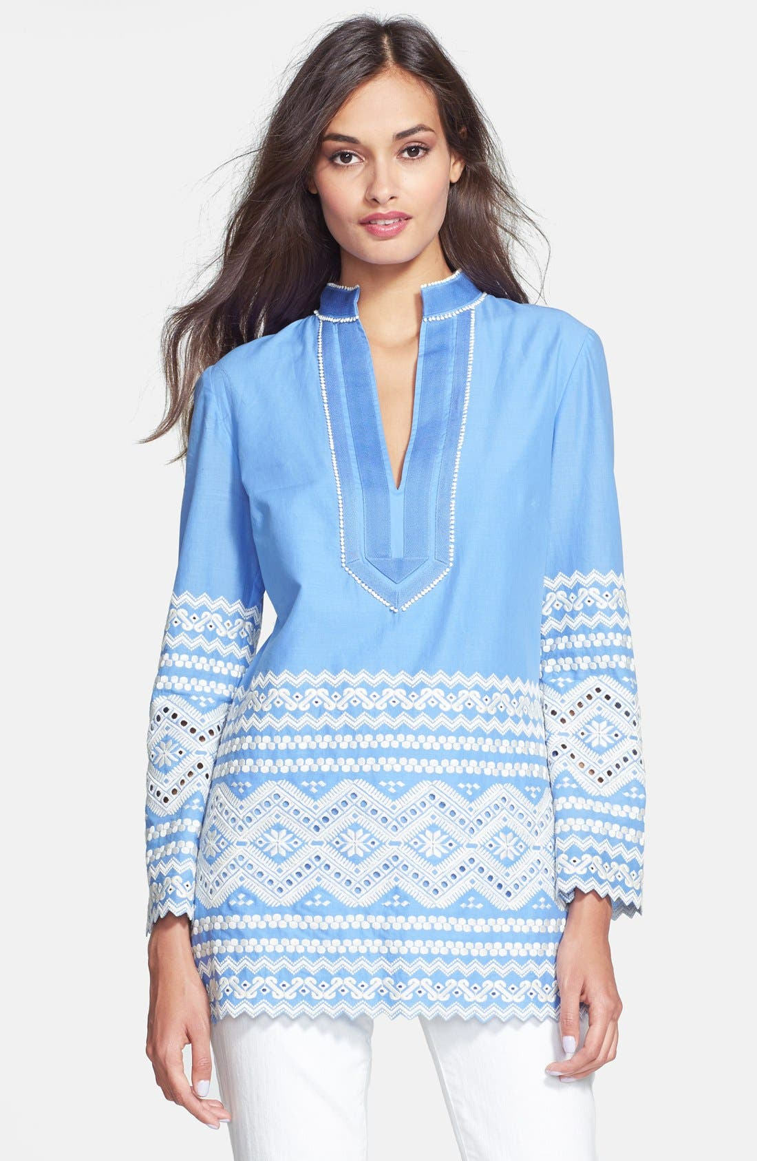 Main Image - Tory Burch 'Zita' Embroidered Tunic Top