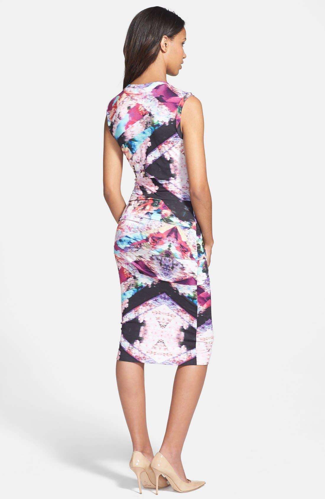 Alternate Image 2  - Nicole Miller Tidal Pleat Print Jersey Pencil Dress