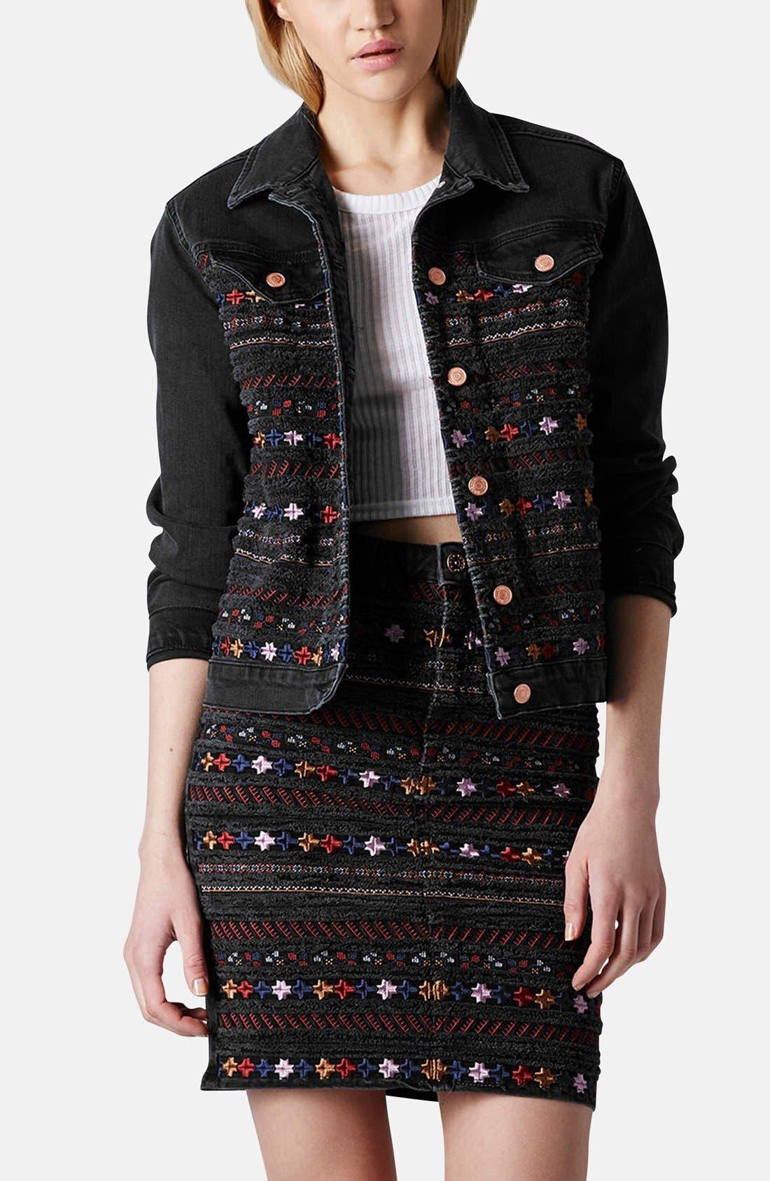 Alternate Image 1 Selected - Topshop Moto Embroidered Denim Jacket