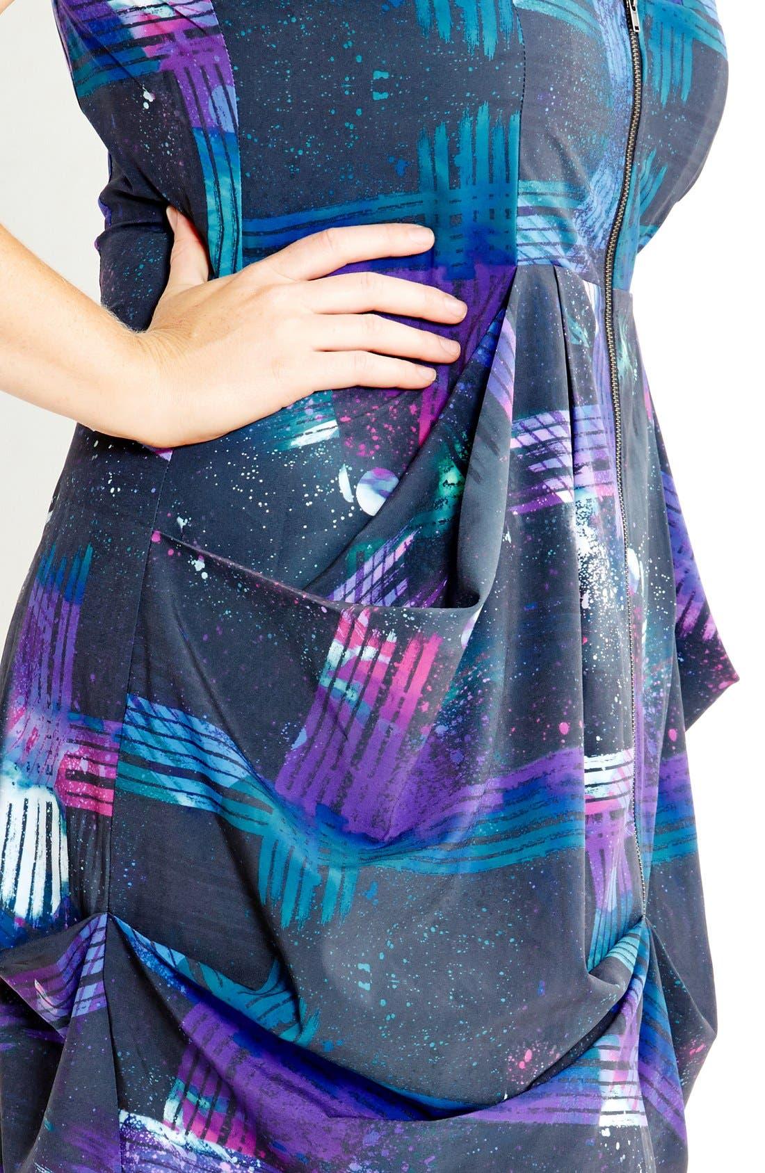 Alternate Image 3  - City Chic Print Front Zip Pleat Tunic (Plus Size)