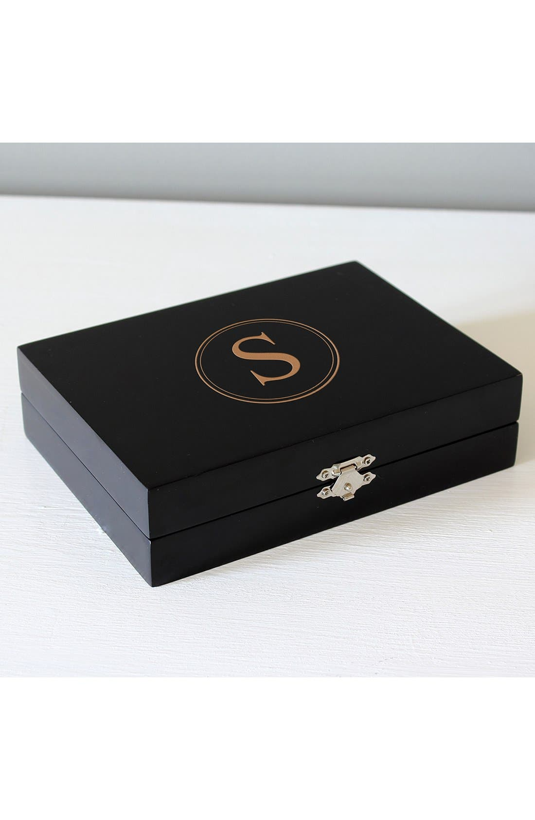 Main Image - Cathy's Concepts Monogram Wooden Jewelry Box