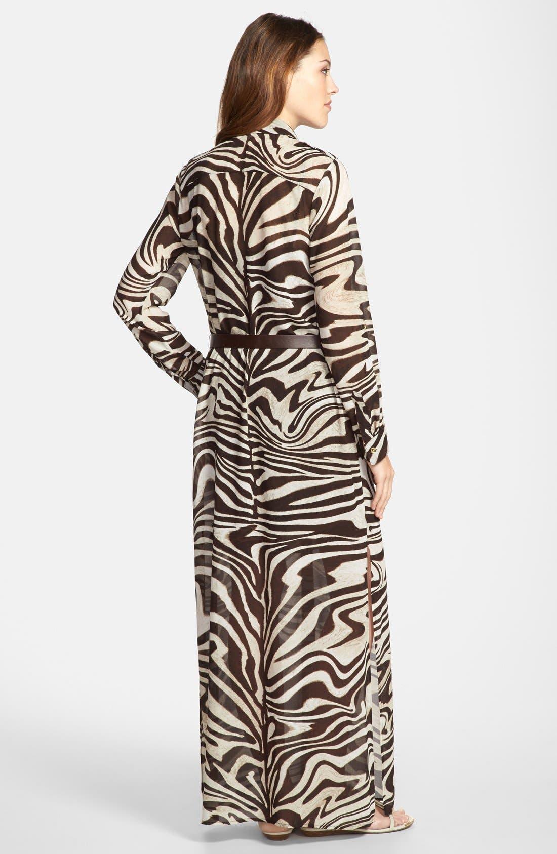 Alternate Image 2  - MICHAEL Michael Kors Belted Maxi Shirt Dress
