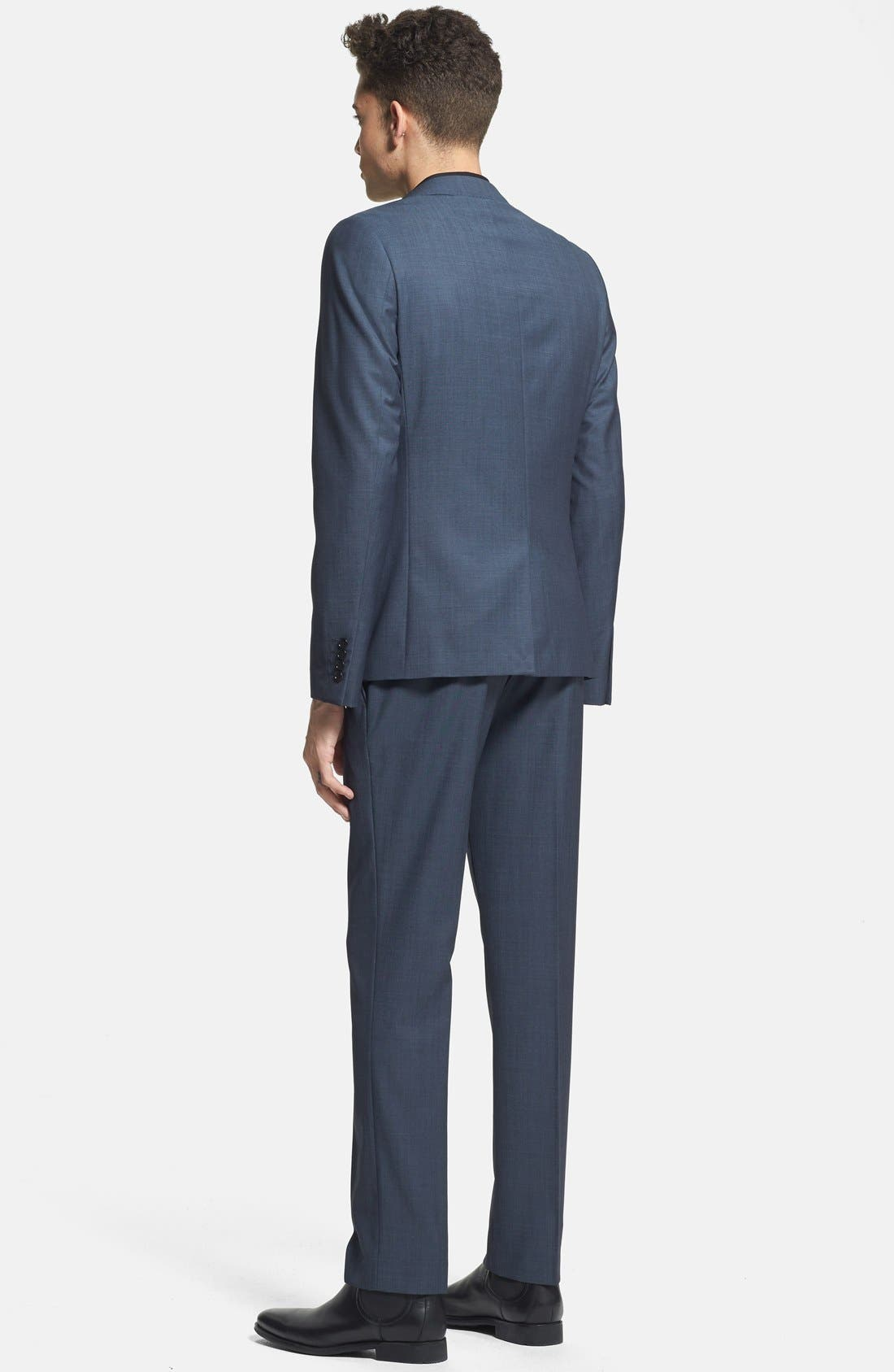 Alternate Image 5  - Topman Skinny Fit Navy Suit Trousers