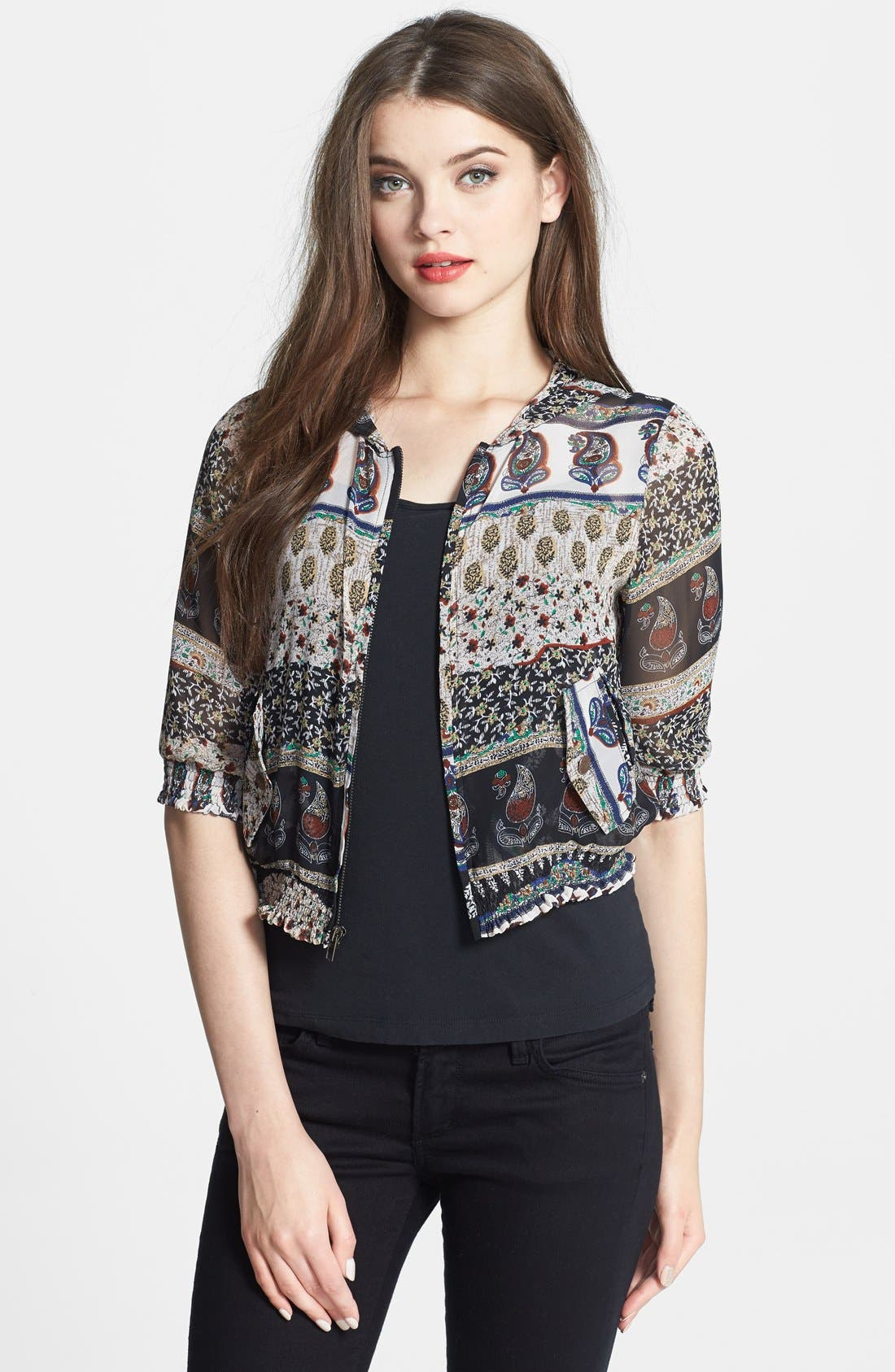Alternate Image 1 Selected - Nikki Rich Paisley Chiffon Zip Hoodie