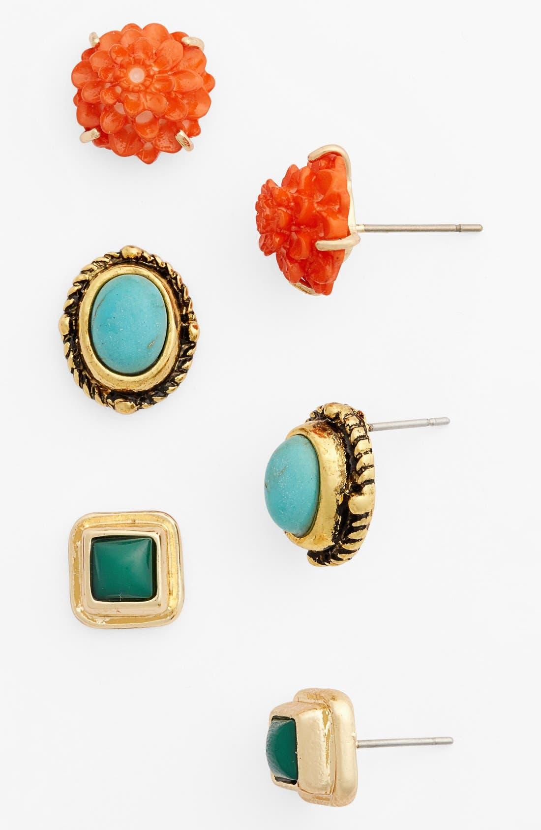 Main Image - South Sun Assorted Stud Earrings (Set of 3) (Juniors)