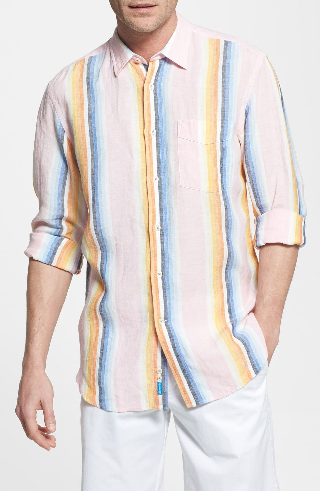 Main Image - Façonnable 'Azur' Club Fit Stripe Linen Sport Shirt