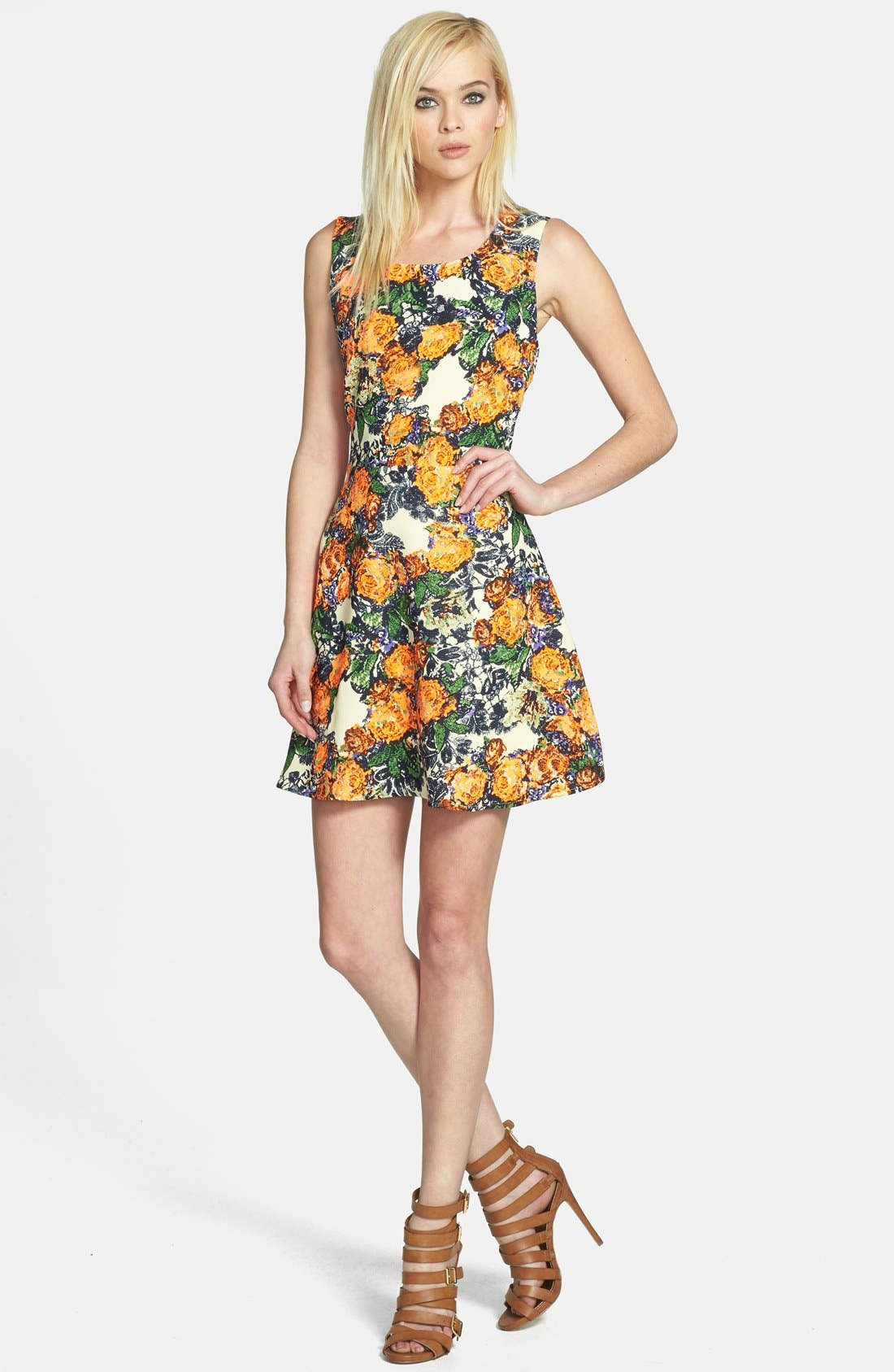 Main Image - JOA Cage Back Floral Fit & Flare Dress