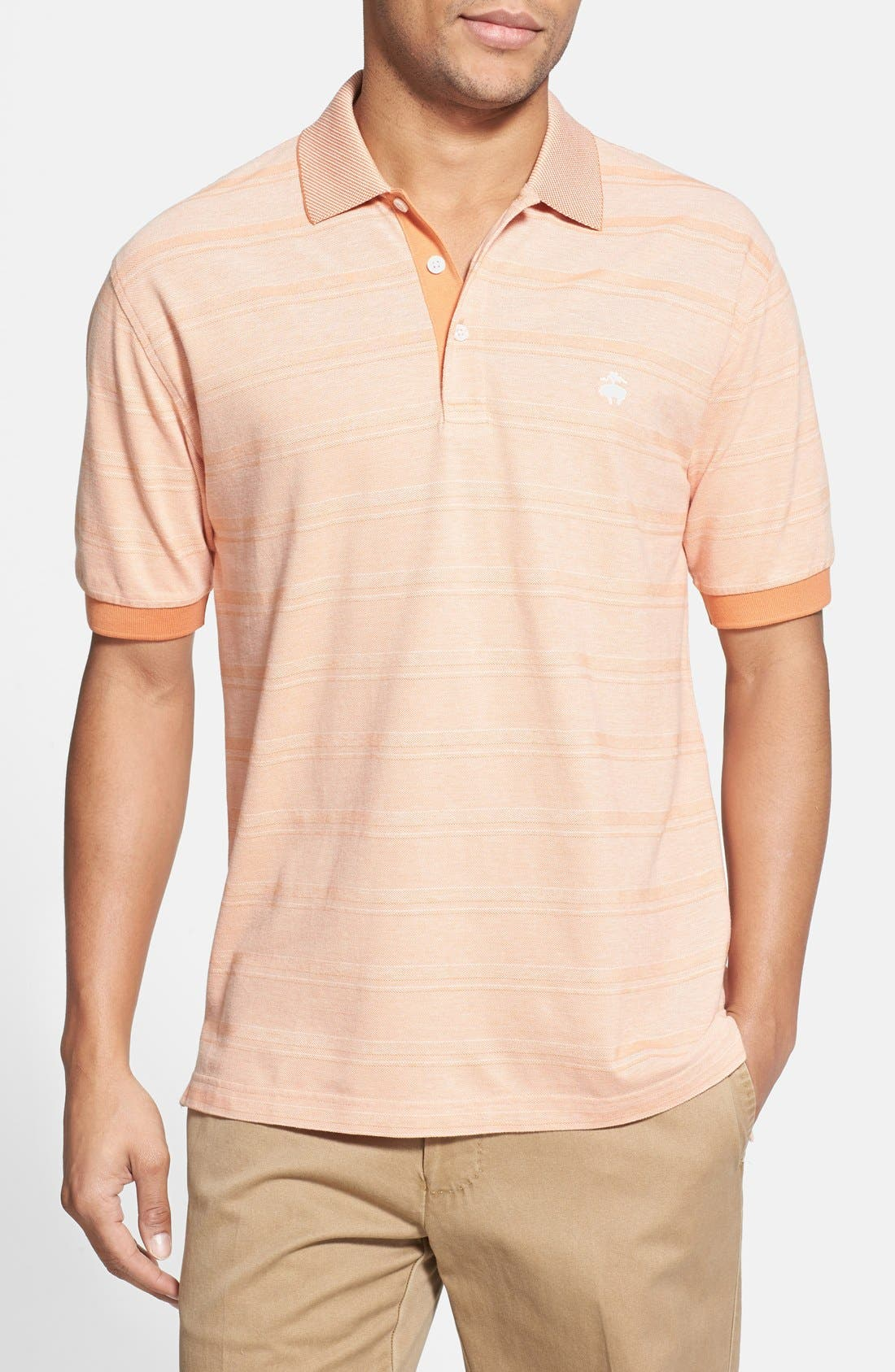 Main Image - Brooks Brothers 'Oxford Double Stripe' Regular Fit Piqué Polo