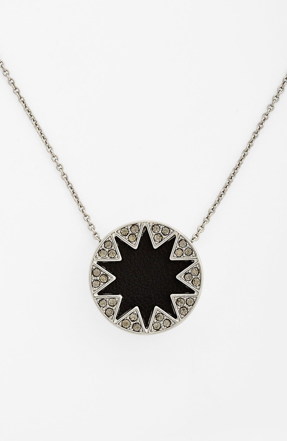 Main Image - House of Harlow 1960 Pavé Leather Sunburst Pendant Necklace