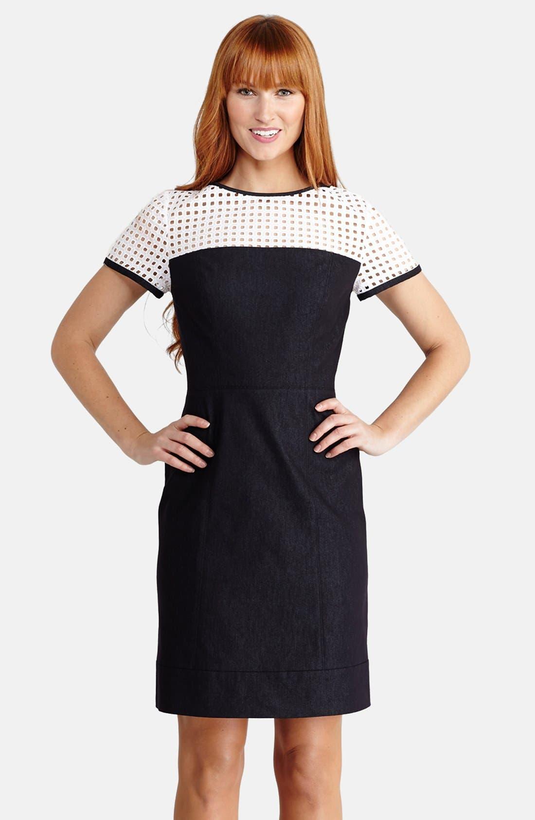 Alternate Image 1 Selected - Donna Morgan Perforated Illusion Yoke Denim Sheath Dress