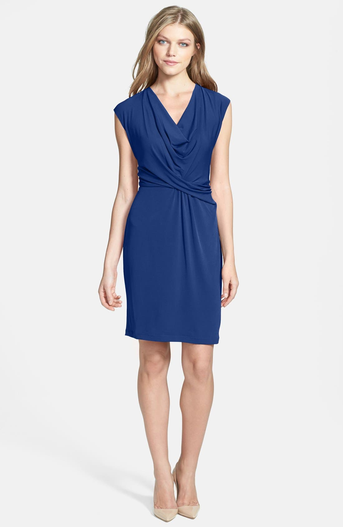 Main Image - Donna Ricco Cowl Neck Matte Jersey Dress