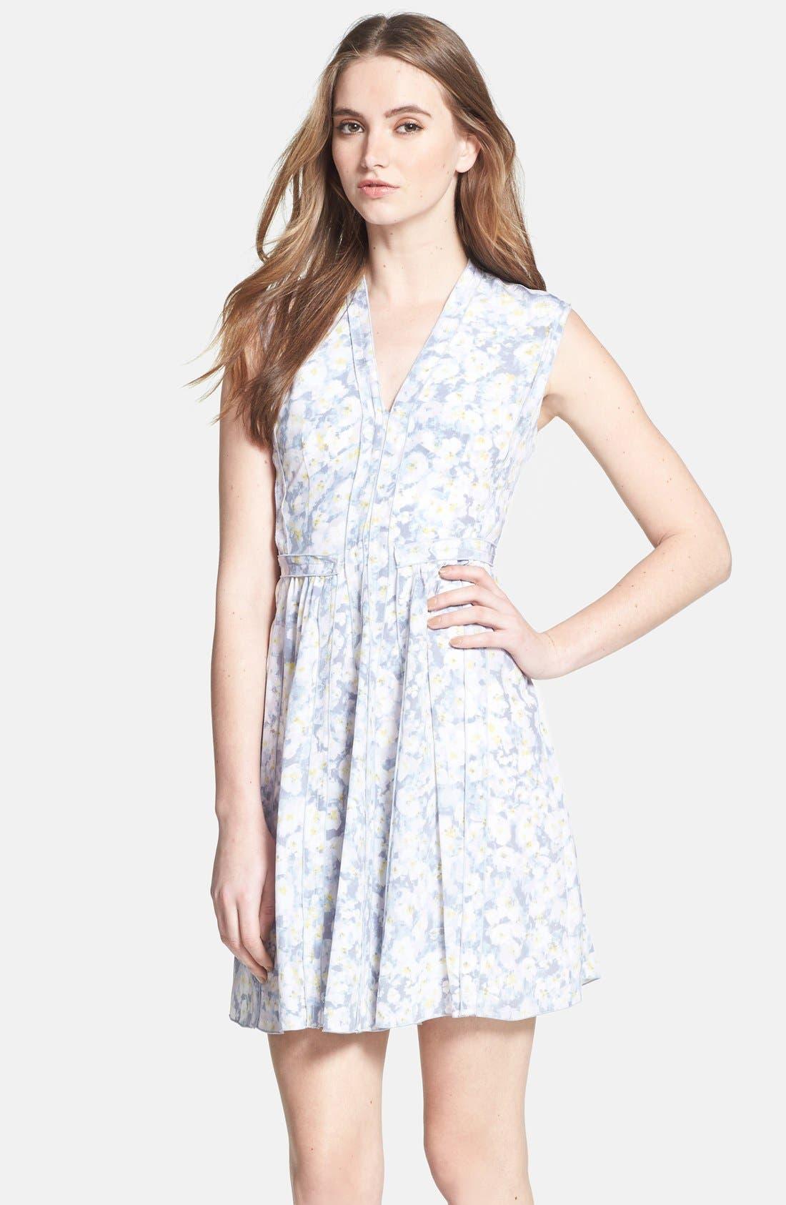 Alternate Image 3  - Rebecca Taylor Pleat Front Floral Silk Dress
