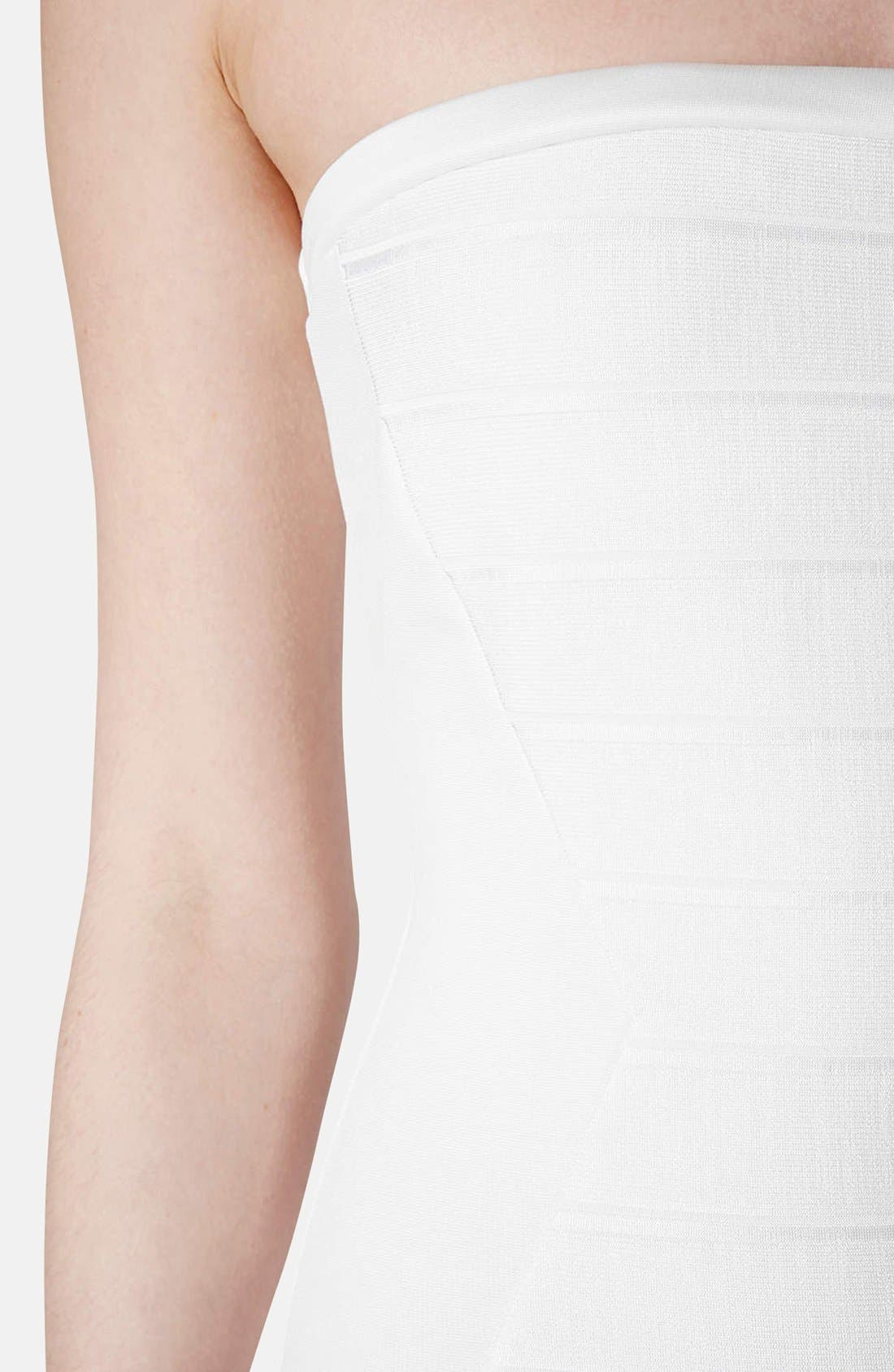 Alternate Image 4  - Topshop Strapless Satin Body-Con Dress (Petite)