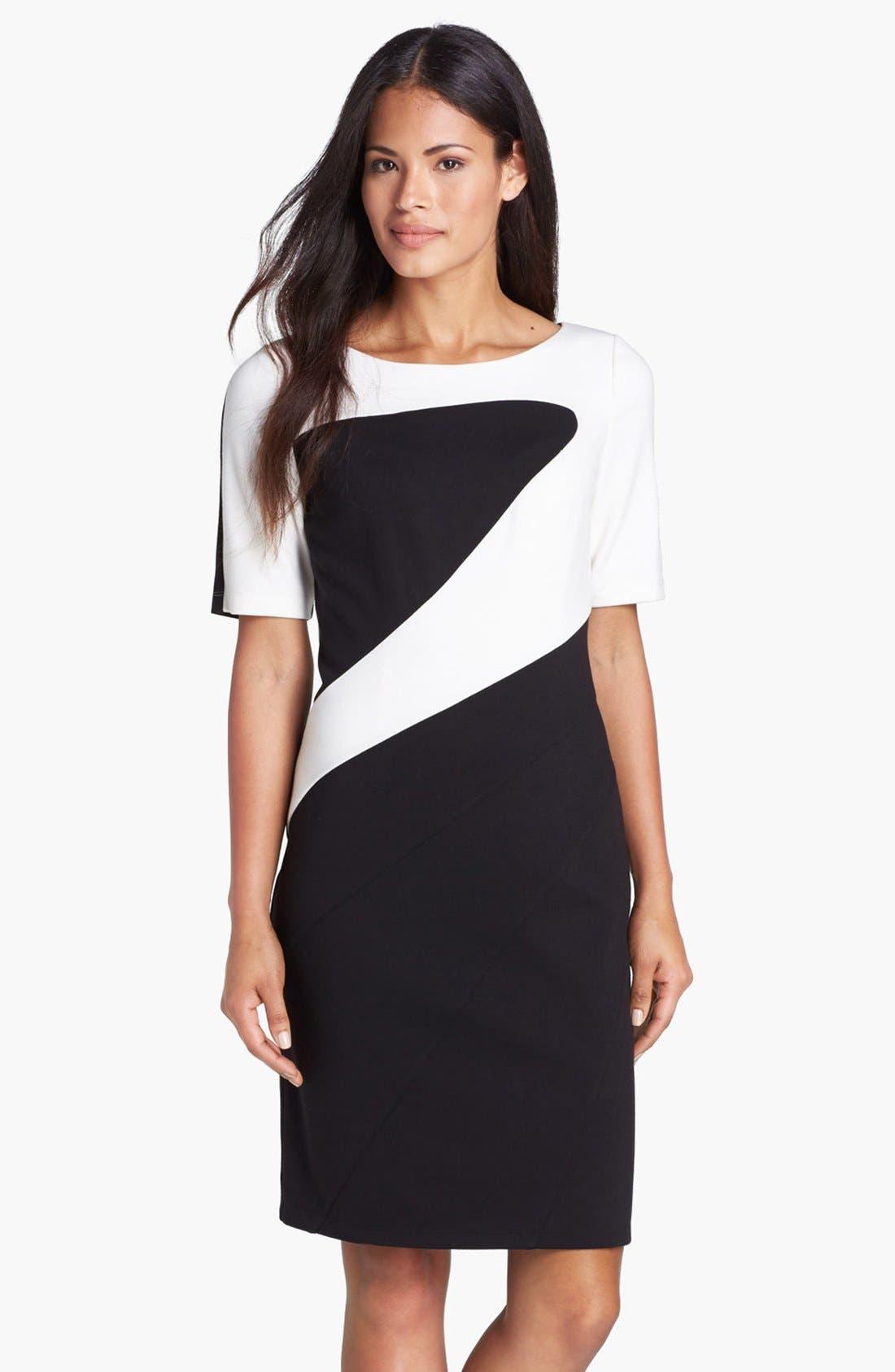 Alternate Image 1 Selected - Ellen Tracy Colorblock Ponte Knit Sheath Dress