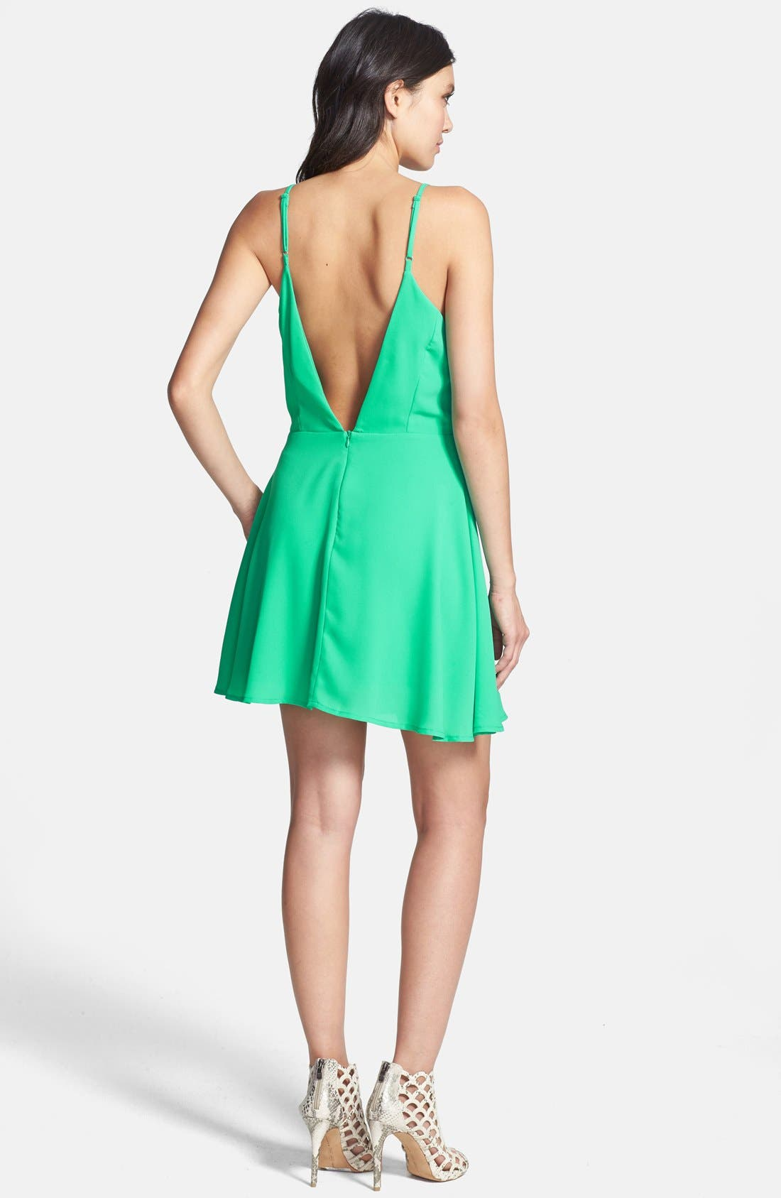 Alternate Image 2  - Glamorous V-Back Chiffon Skater Dress