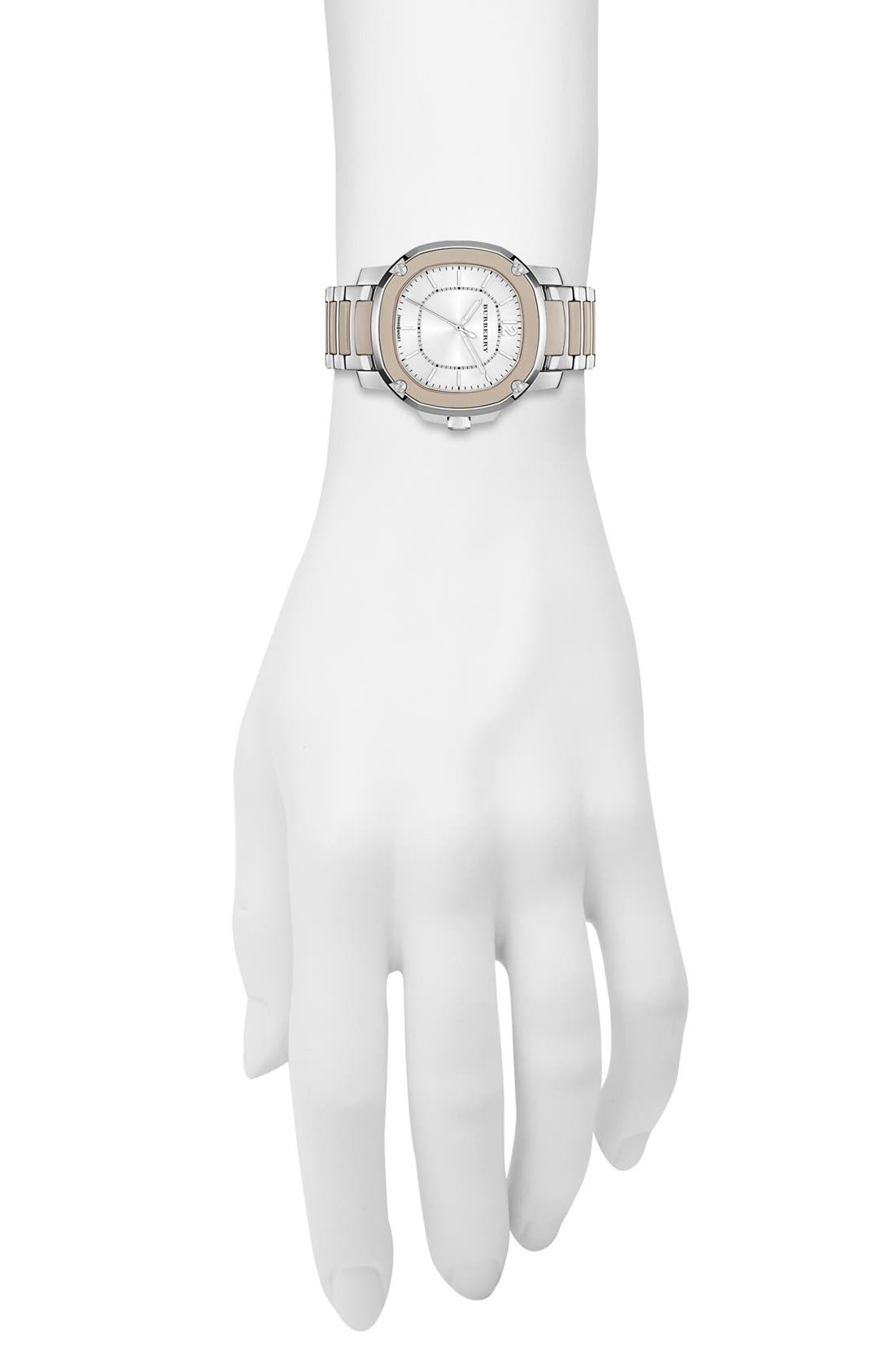 Alternate Image 5  - Burberry The Britain Ceramic Link Bracelet Watch, 34mm