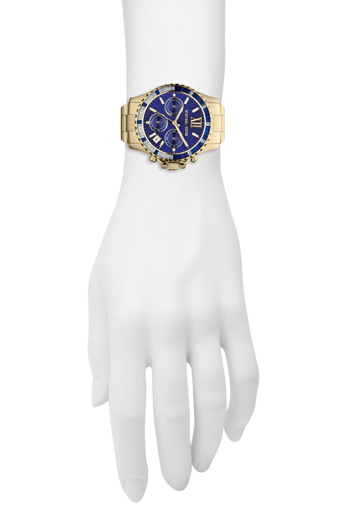 Alternate Image 2  - Michael Kors 'Everest' Baguette Crystal Bezel Bracelet Watch, 41mm