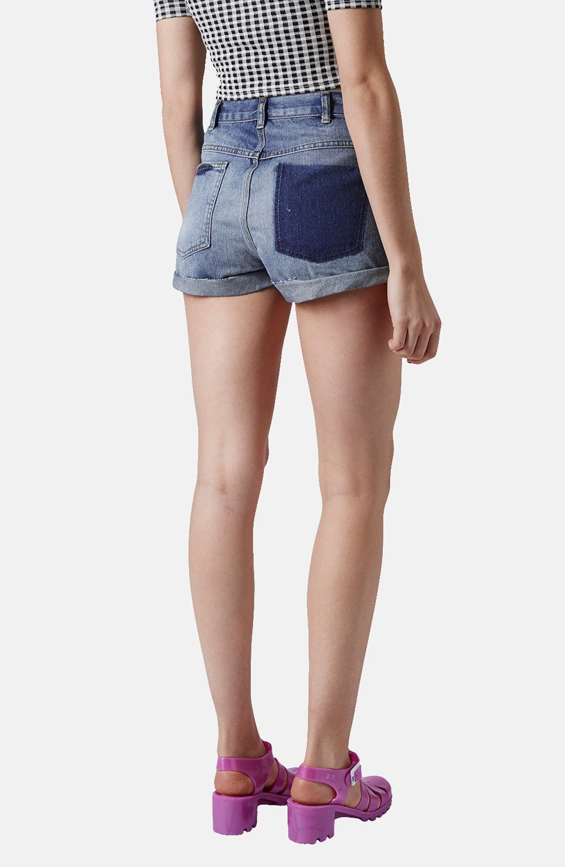 Alternate Image 2  - Topshop 'Rosa' High Rise Denim Shorts (Mid) (Petite)