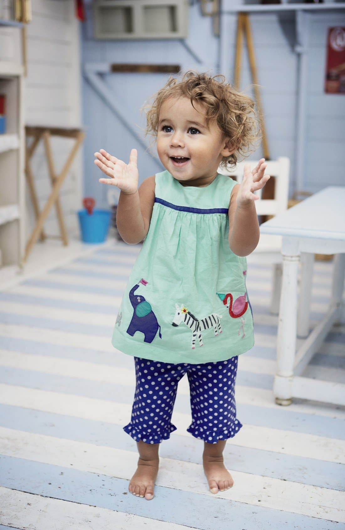 Alternate Image 2  - Mini Boden 'Summer Play Set' Embroidered Appliqué Top & Crop Pants (Baby Girls)