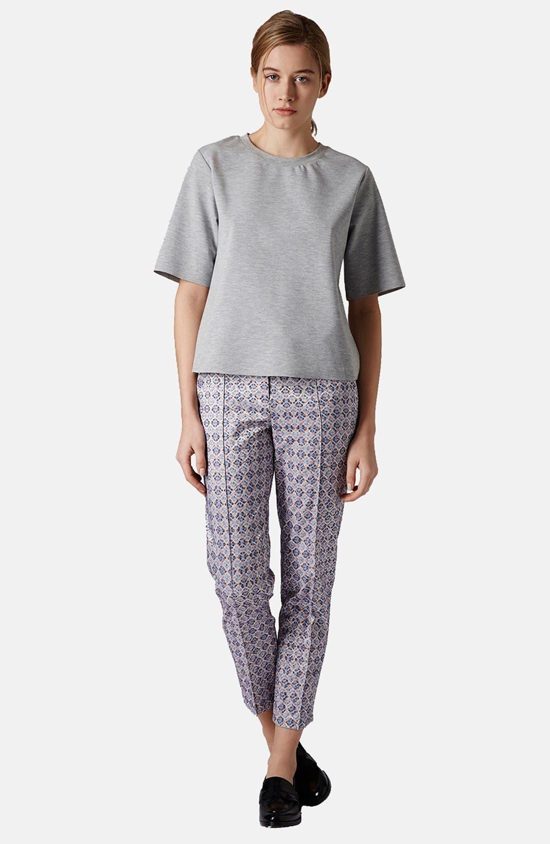 Alternate Image 5  - Topshop 'Folk Tile' Crop Jacquard Trousers