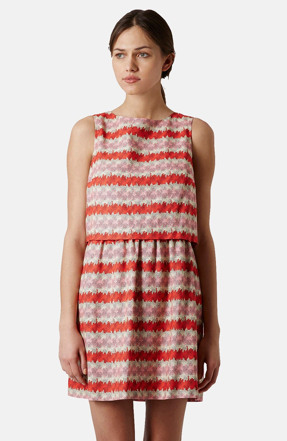 Alternate Image 1 Selected - Topshop 'Kiwi Stripe' Print Crop Bodice Dress