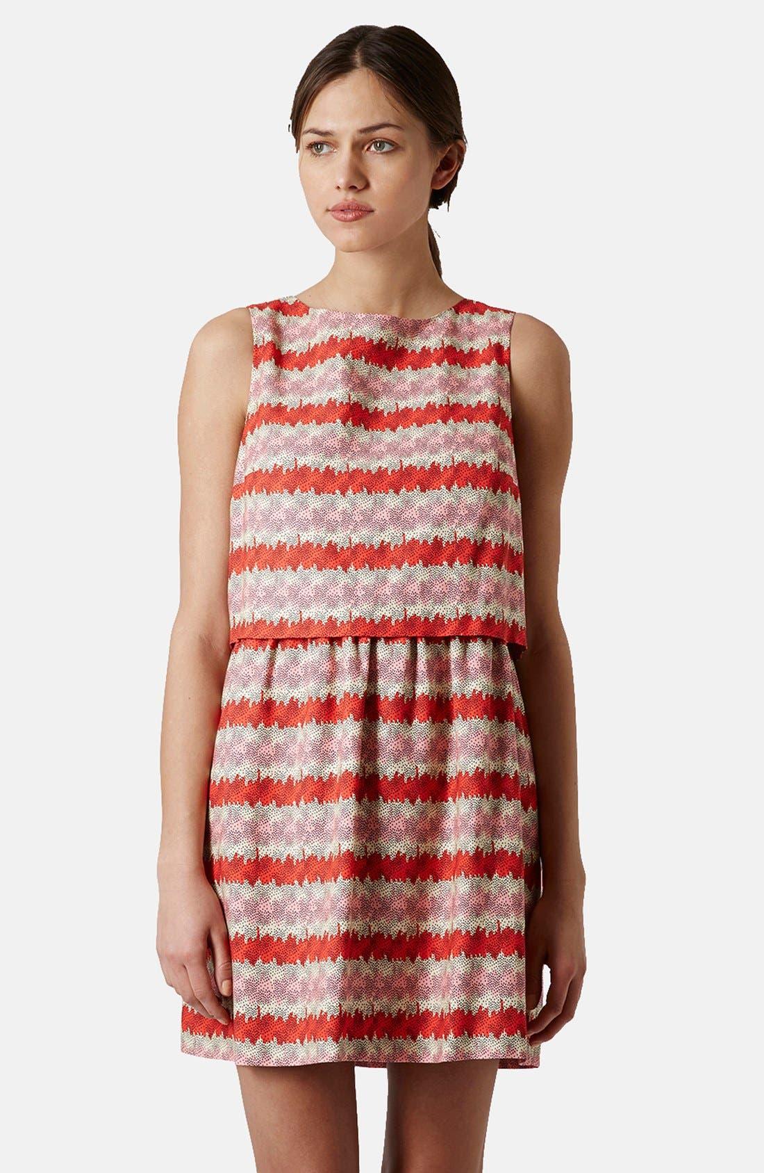 Main Image - Topshop 'Kiwi Stripe' Print Crop Bodice Dress