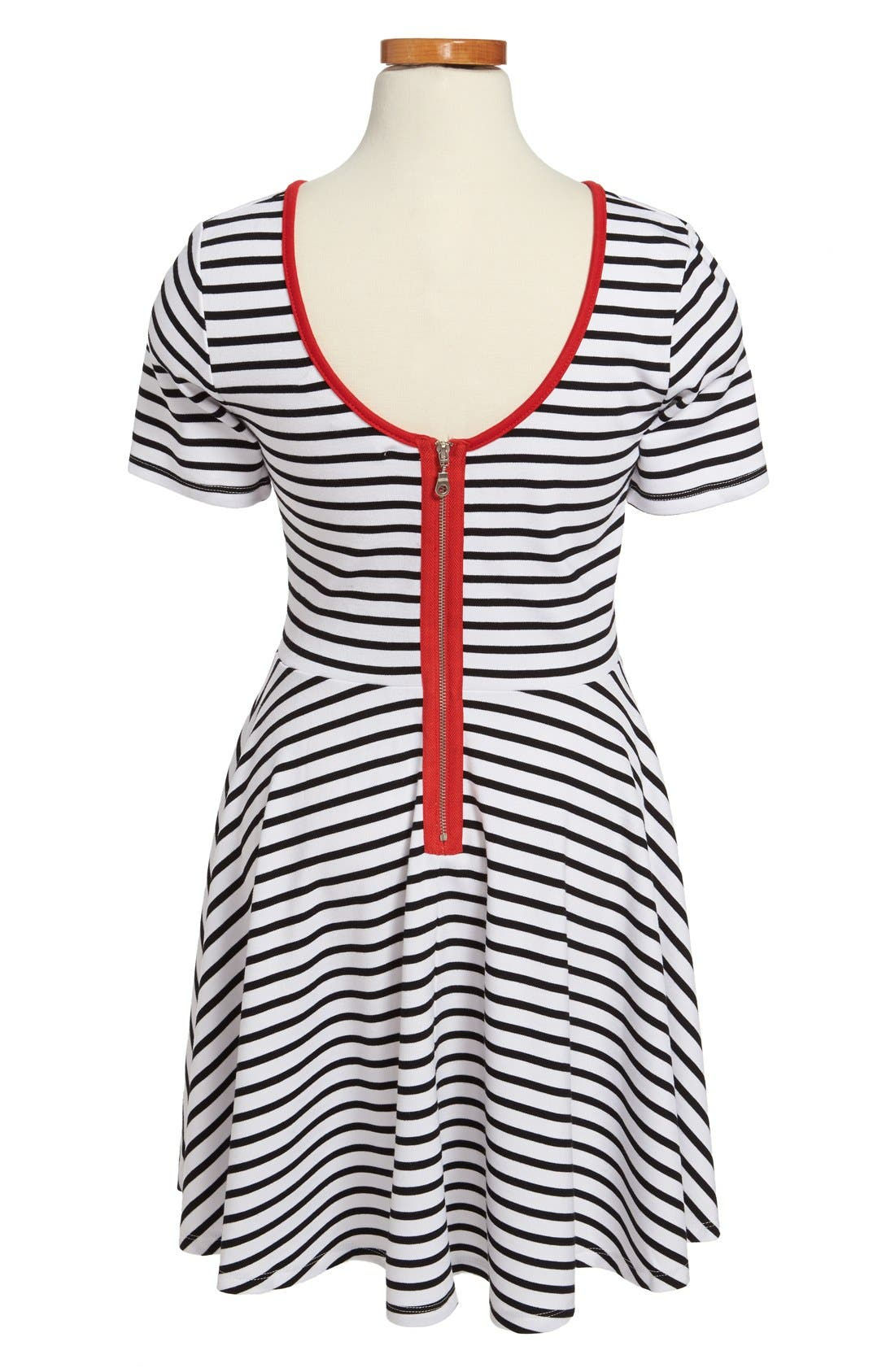 Alternate Image 2  - Miss Behave 'Lacey' Ponte Knit Stripe Skater Dress (Big Girls)