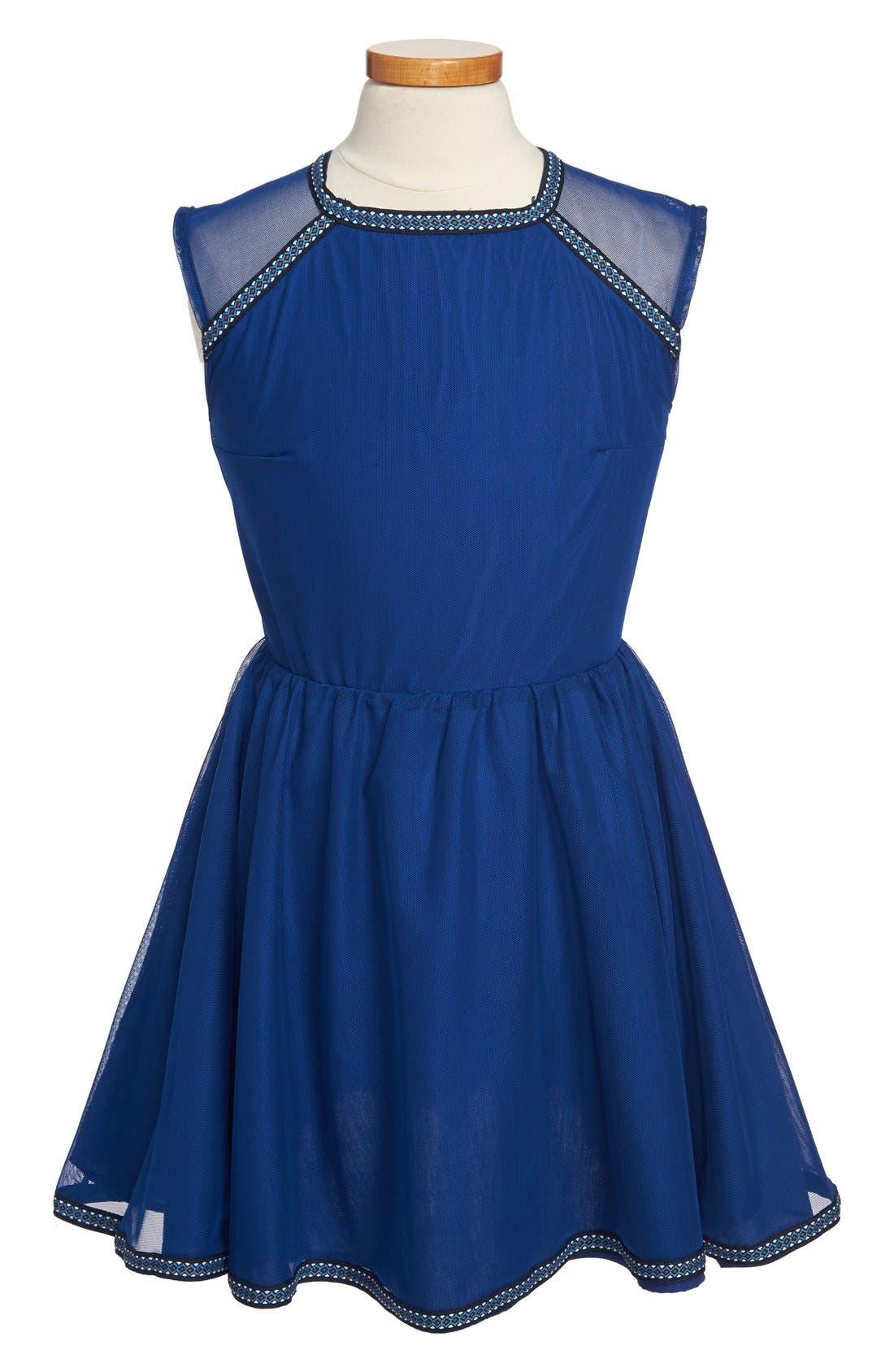 Main Image - Miss Behave 'Emma' Ribbon Trimmed Illusion Skater Dress (Big Girls)