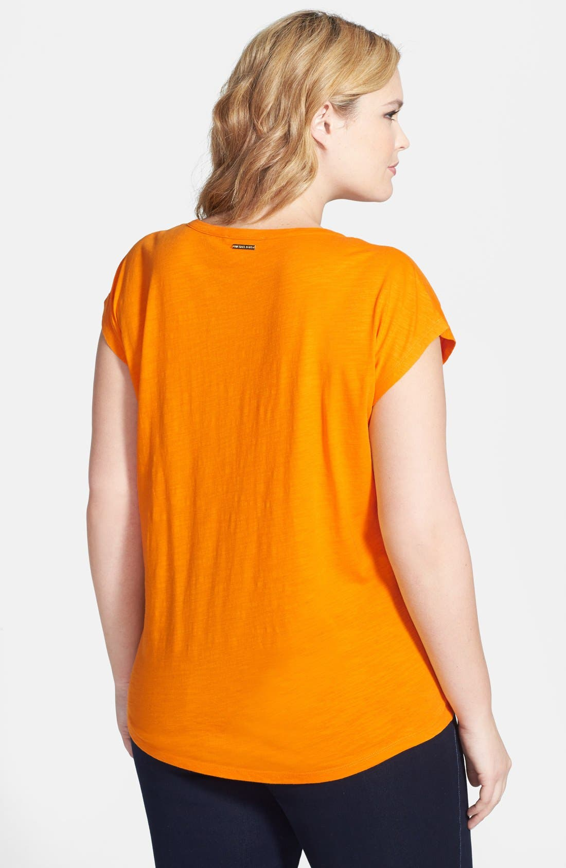 Alternate Image 2  - MICHAEL Michael Kors Slubbed Cotton High/Low Tee (Plus Size)