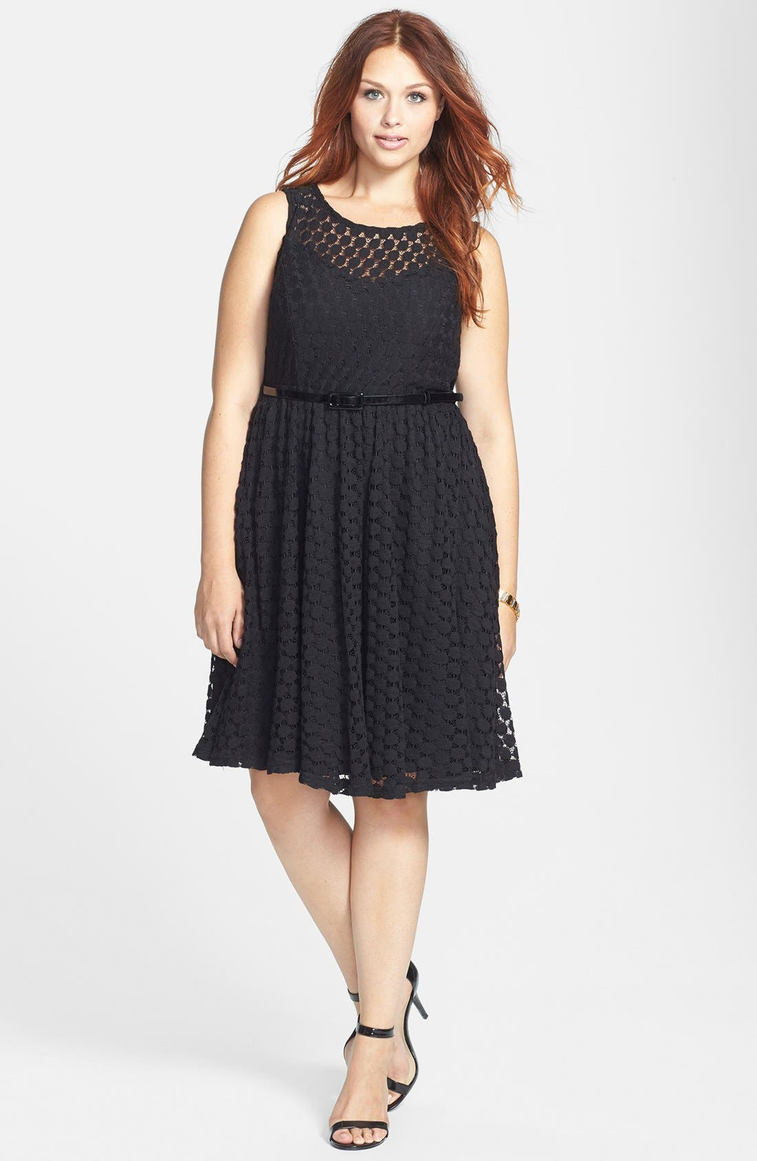 Alternate Image 1 Selected - City Chic Lace Swing Dress (Plus Size)