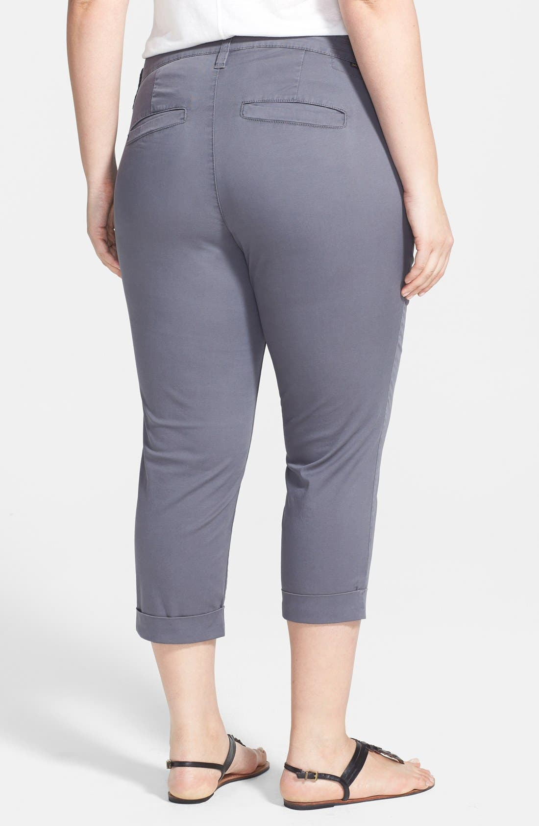 Alternate Image 2  - Jag Jeans 'Cora' Cuff Stretch Twill Crop Chinos (Plus Size)
