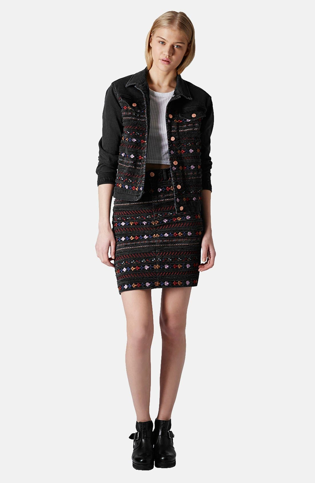 Alternate Image 5  - Topshop Moto Embroidered Denim Pencil Skirt