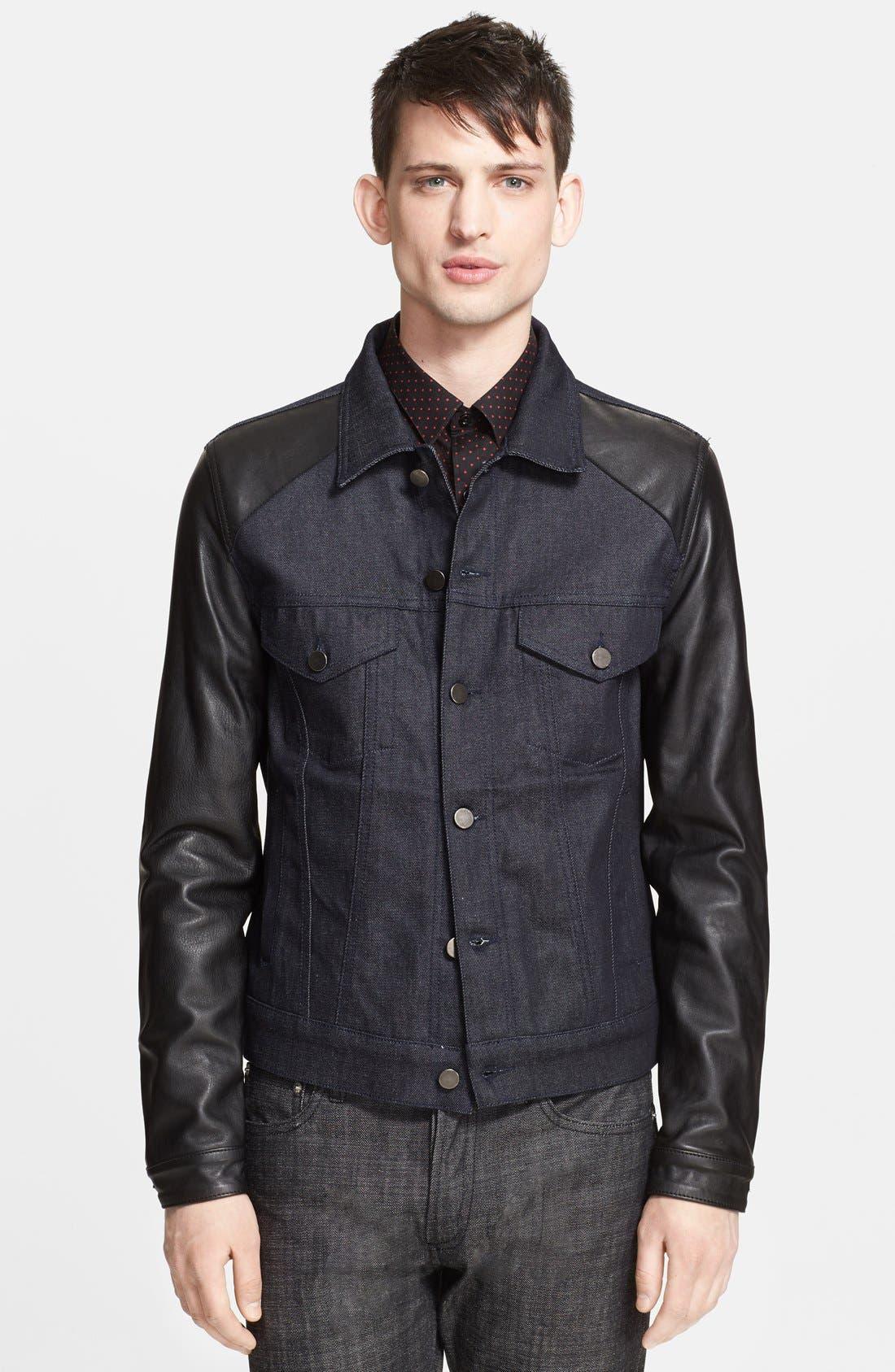 Alternate Image 1 Selected - The Kooples Denim Jacket with Leather Sleeves