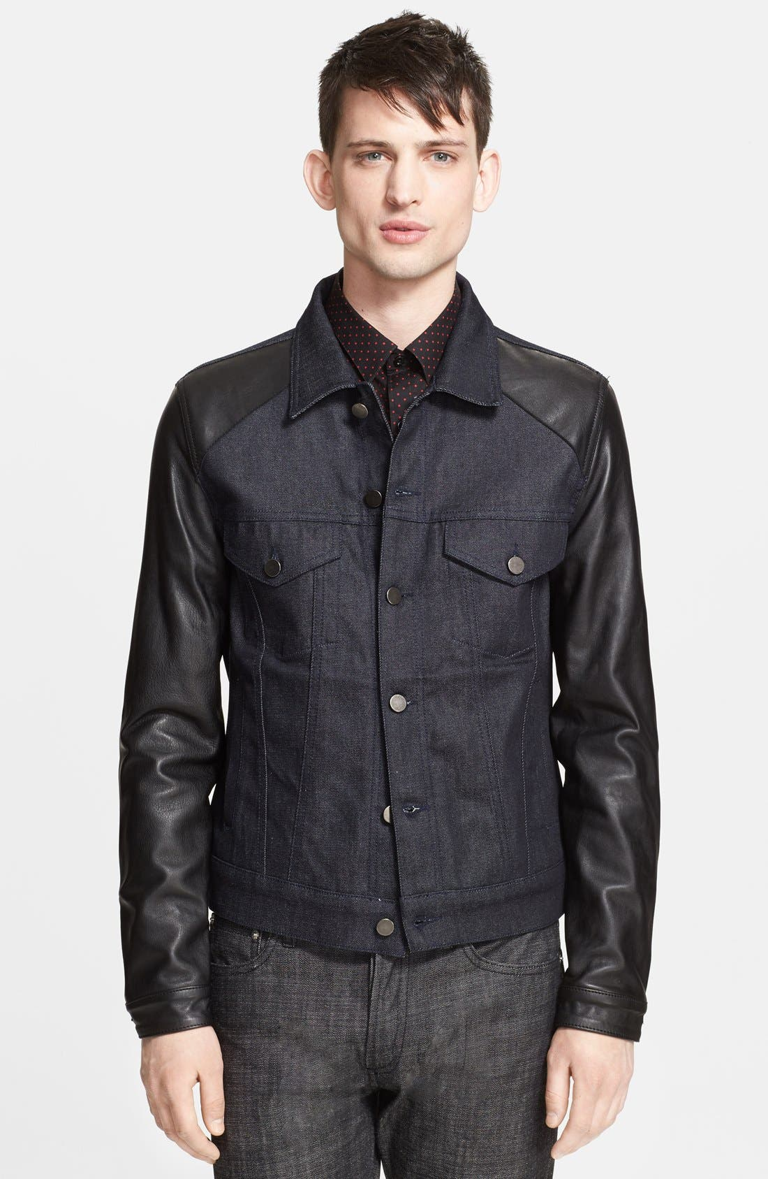 Main Image - The Kooples Denim Jacket with Leather Sleeves