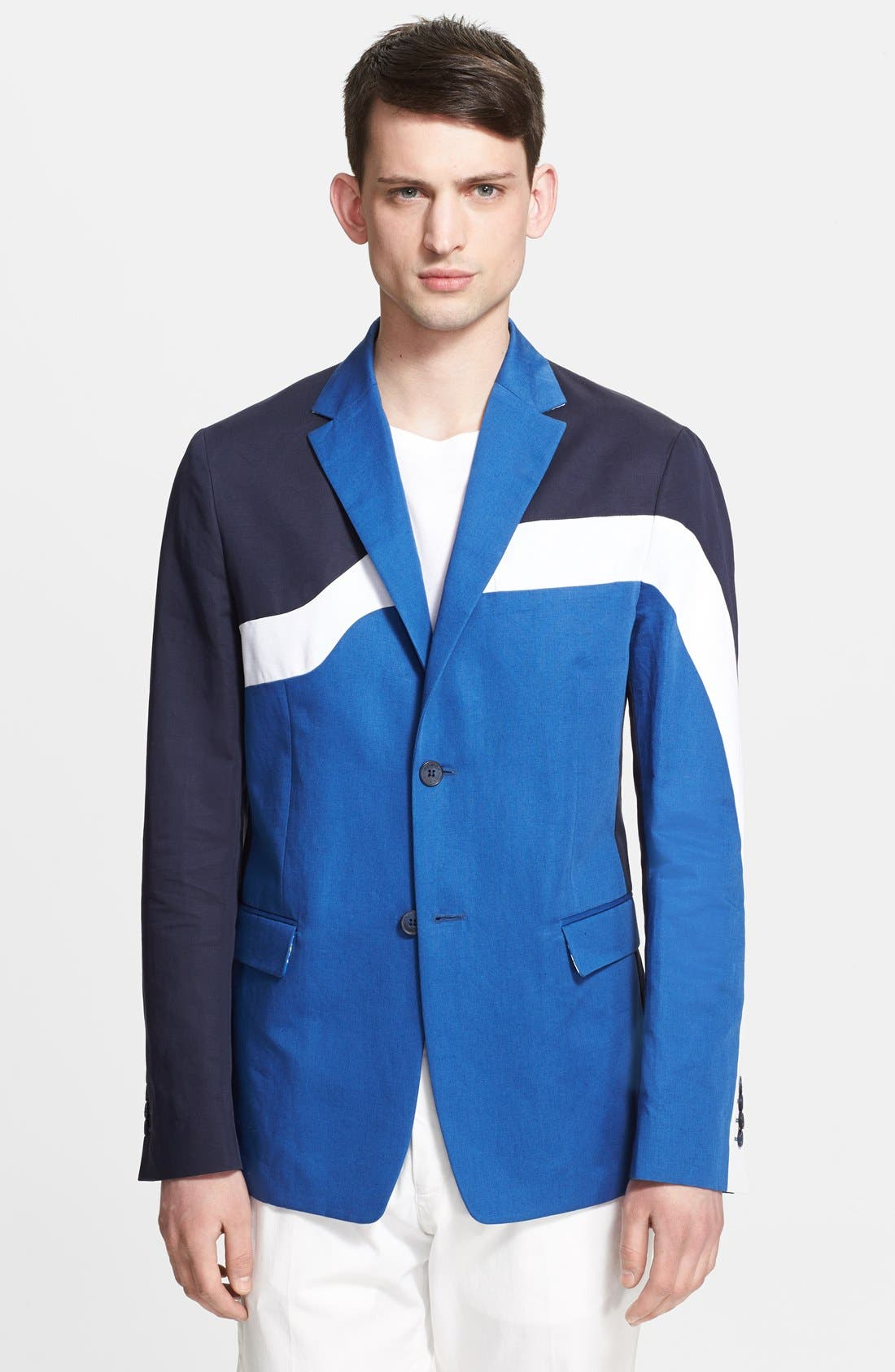 Alternate Image 1 Selected - KENZO Colorblock Cotton & Linen Blazer