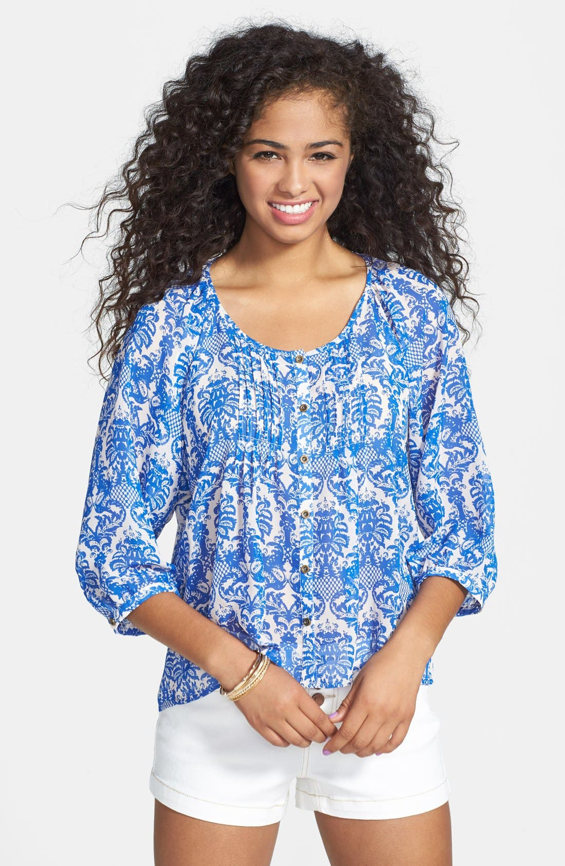 Alternate Image 1 Selected - Liberty Love Print Front Button Peasant Blouse (Juniors)