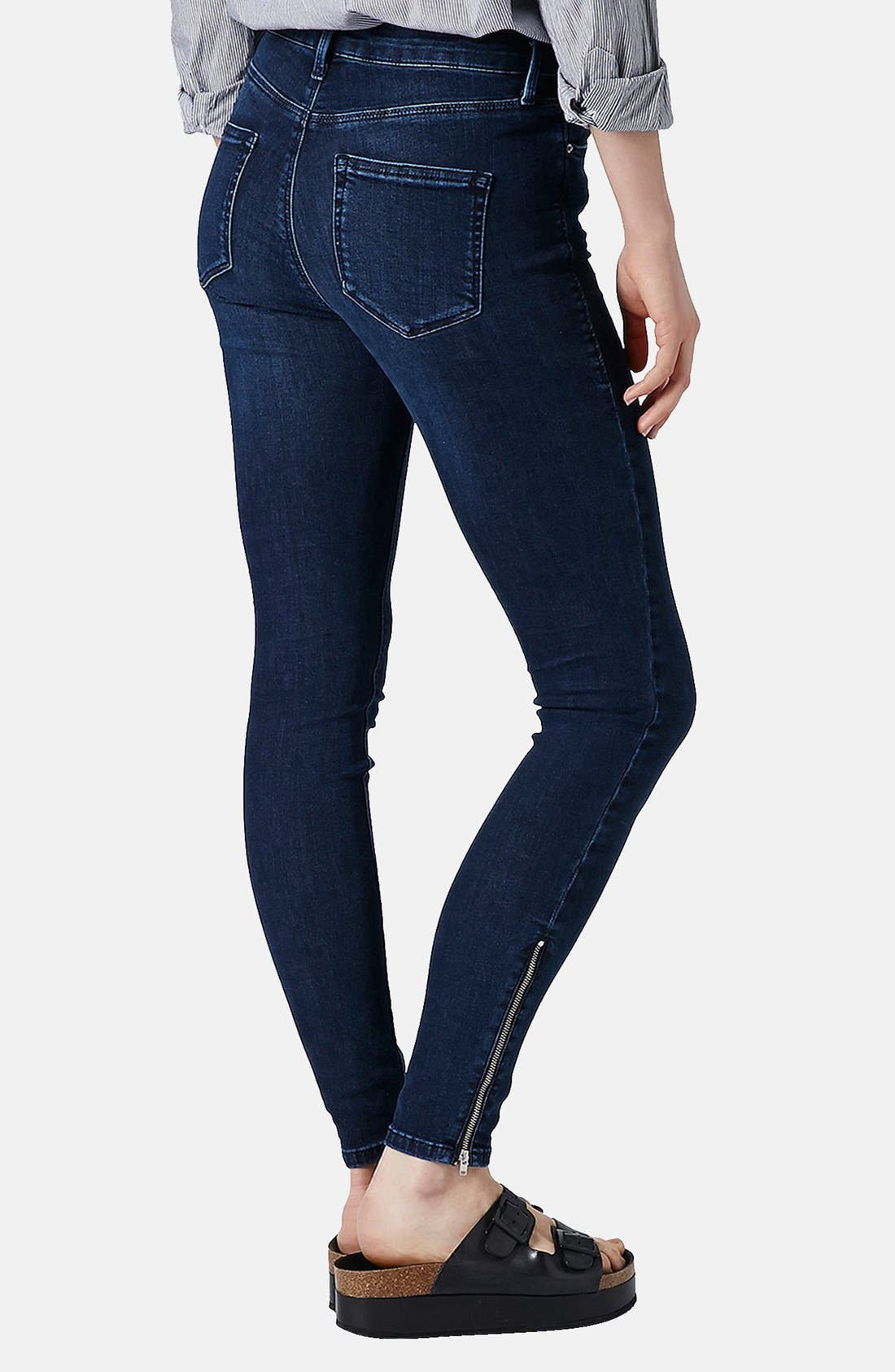 Alternate Image 2  - Topshop Moto 'Jamie' Zip Cuff High Waist Skinny Jeans (Dark)