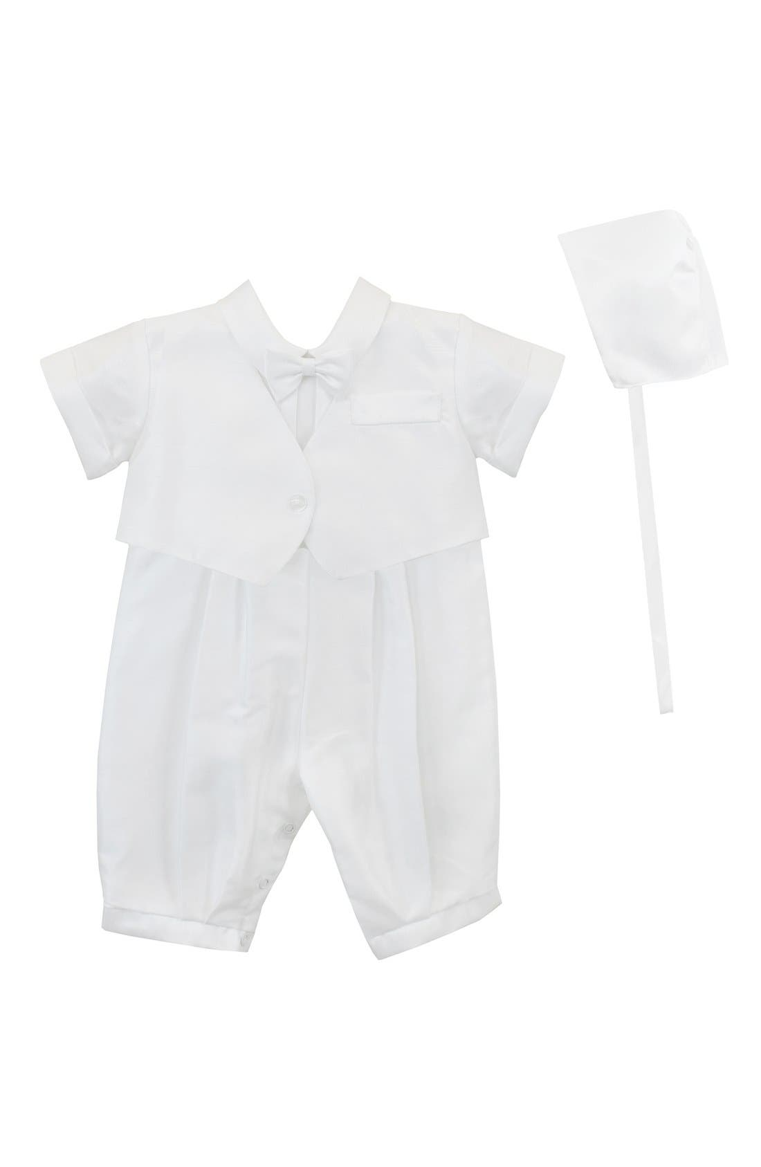 Alternate Image 1 Selected - C.I. Castro & Co. Christening Romper & Cap (Baby Boys)