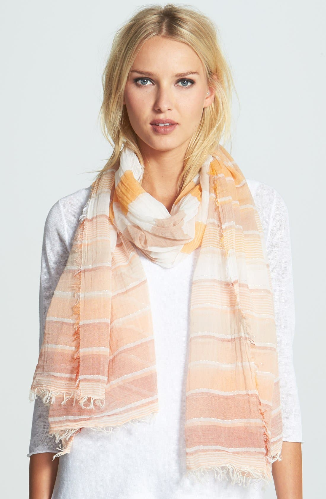 Main Image - Eileen Fisher Ombré Stripe Cotton Scarf