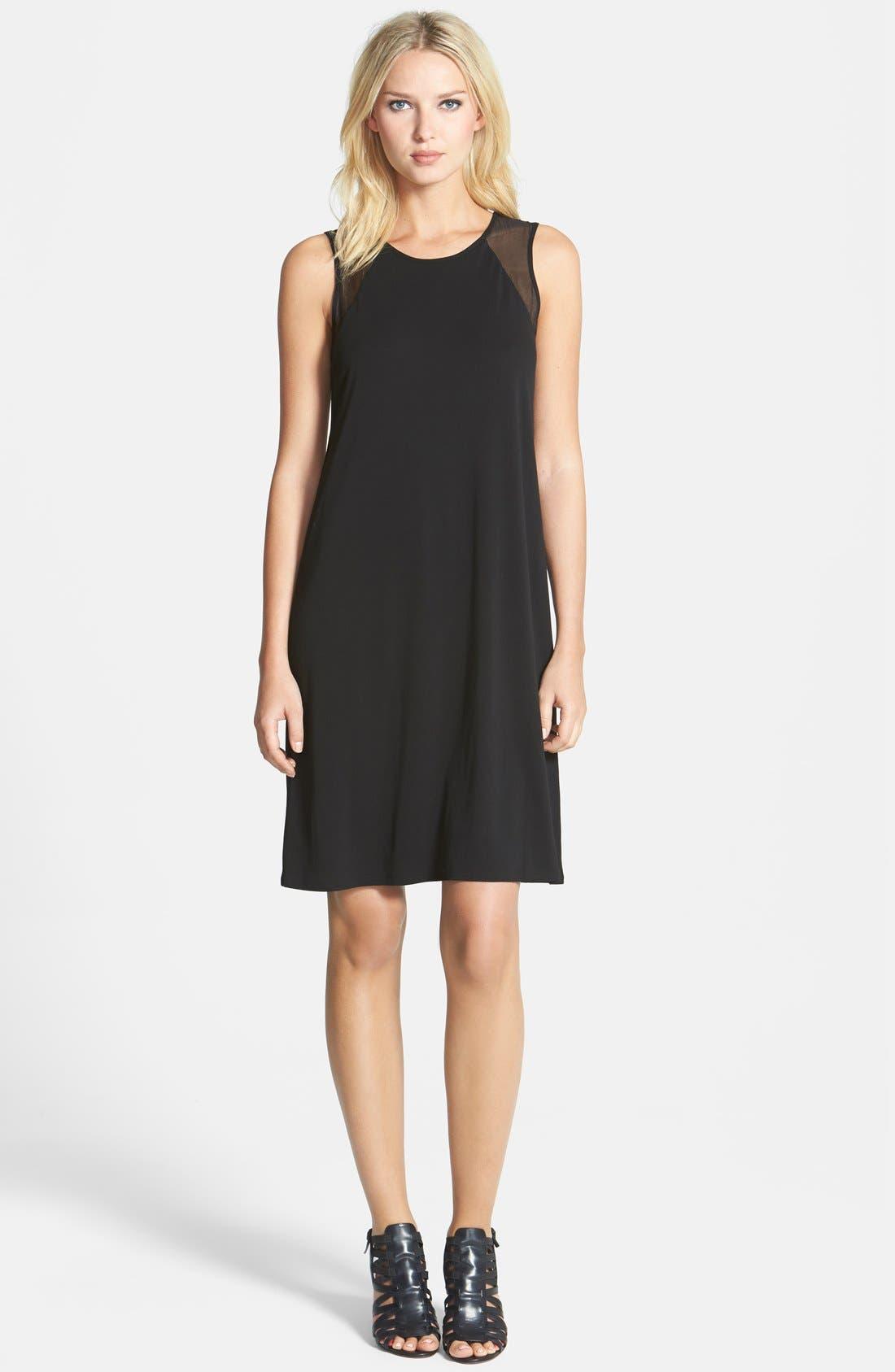 Alternate Image 1 Selected - Eileen Fisher Sheer Shoulder A-Line Silk Shift Dress (Regular & Petite)