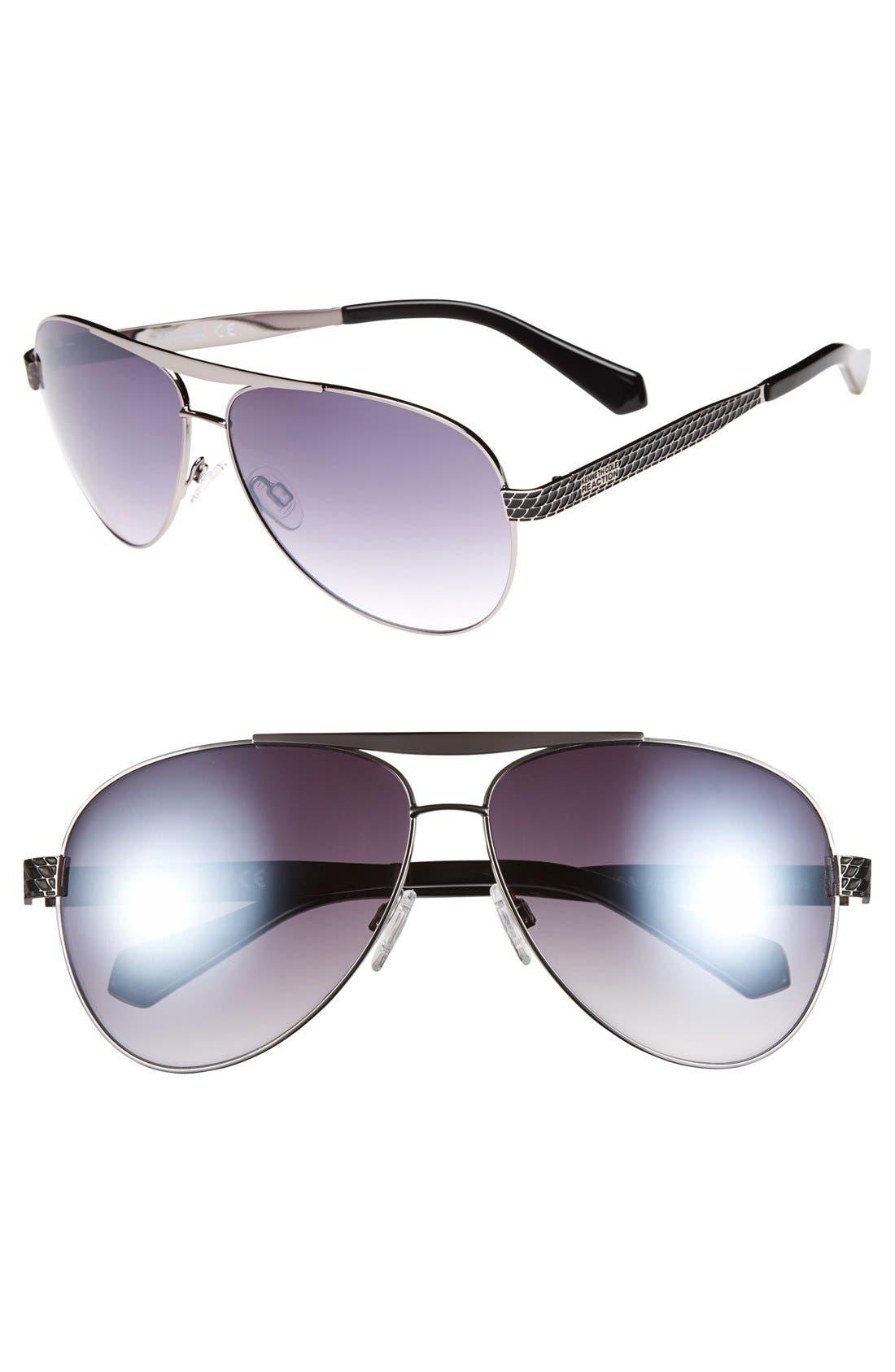Main Image - Kenneth Cole Reaction 62mm Aviator Sunglasses