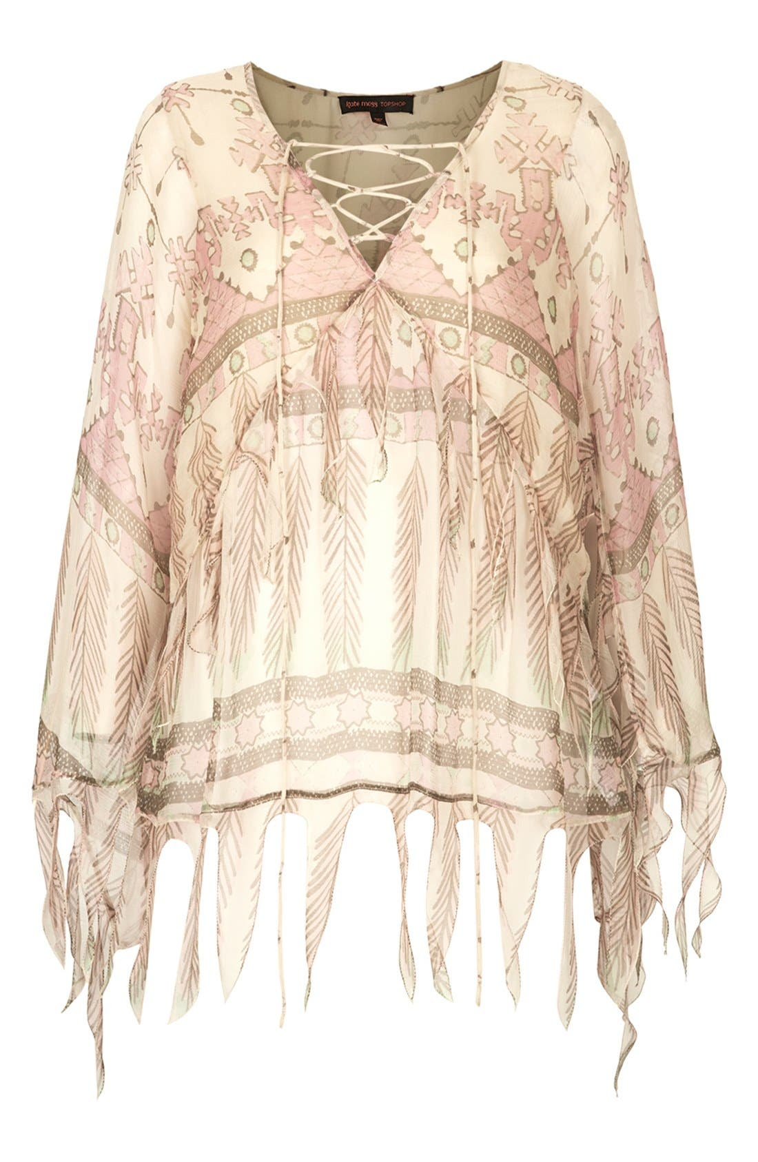 Alternate Image 3  - Kate Moss for Topshop Tassel Feather Print Blouse