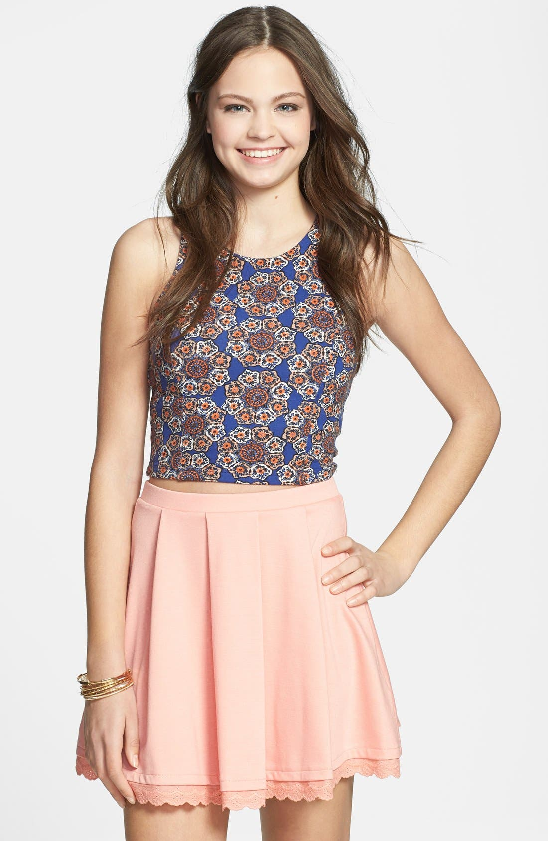 Alternate Image 1 Selected - Lily White Print Crop Tank (Juniors) (Online Only)