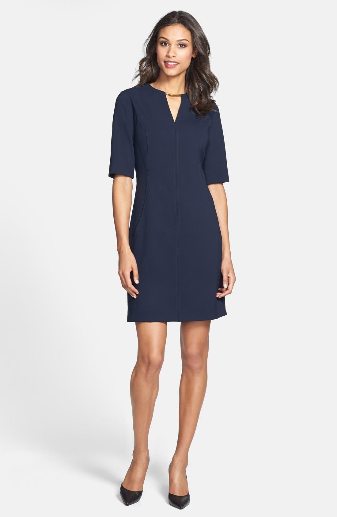 Alternate Image 5  - Tahari V-Neck Shift Dress (Regular & Petite) (Online Only)