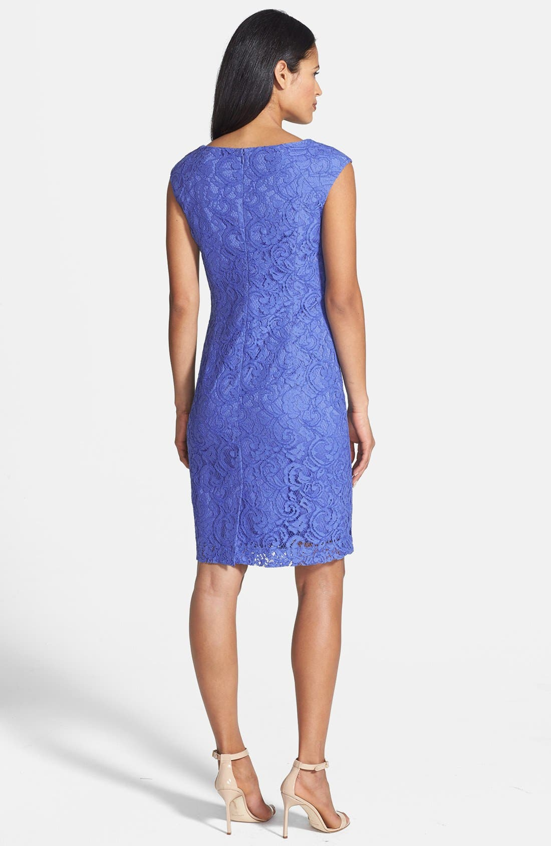 Alternate Image 2  - Adrianna Papell Embroidered Lace Overlay Sheath Dress (Regular & Petite)