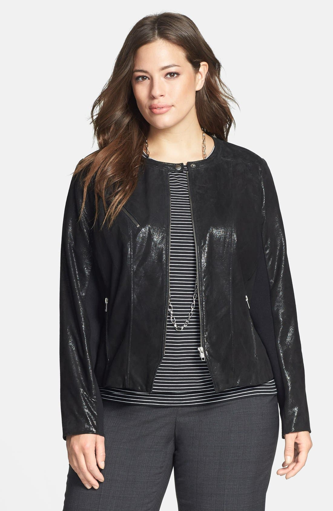 Alternate Image 1 Selected - Halogen® Front Zip Leather Jacket (Plus Size) (Online Only)