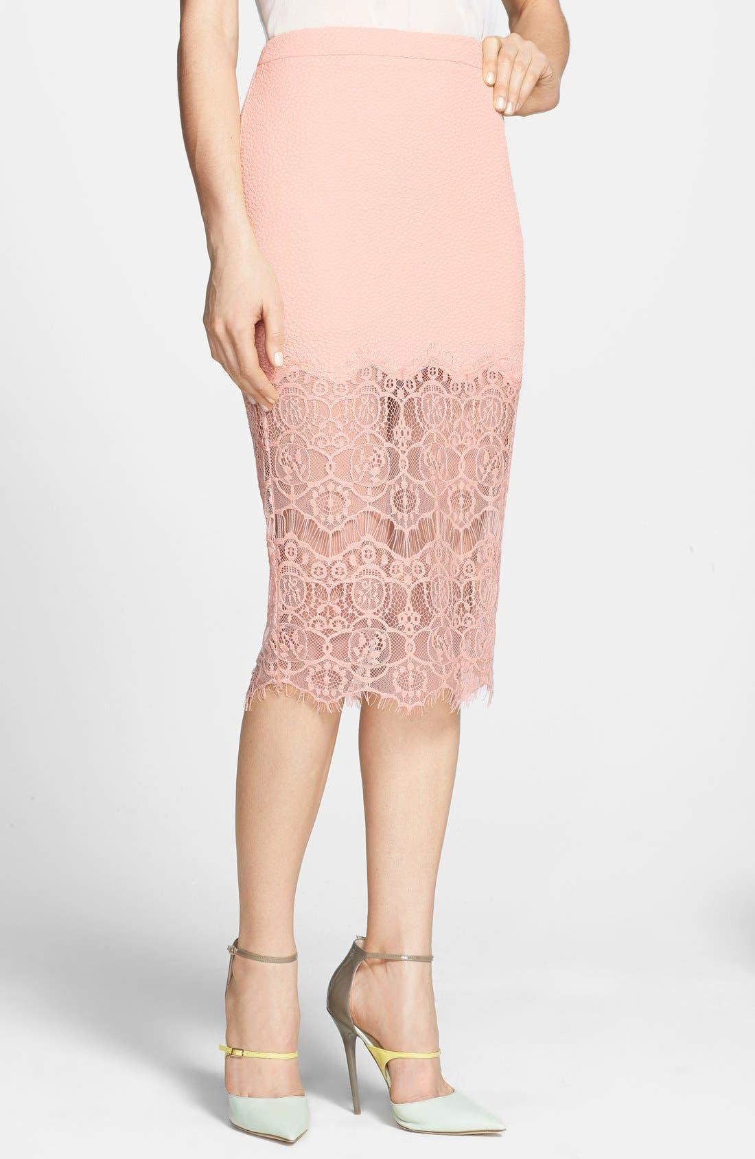 Main Image - ASTR Textured Lace Hem Pencil Skirt